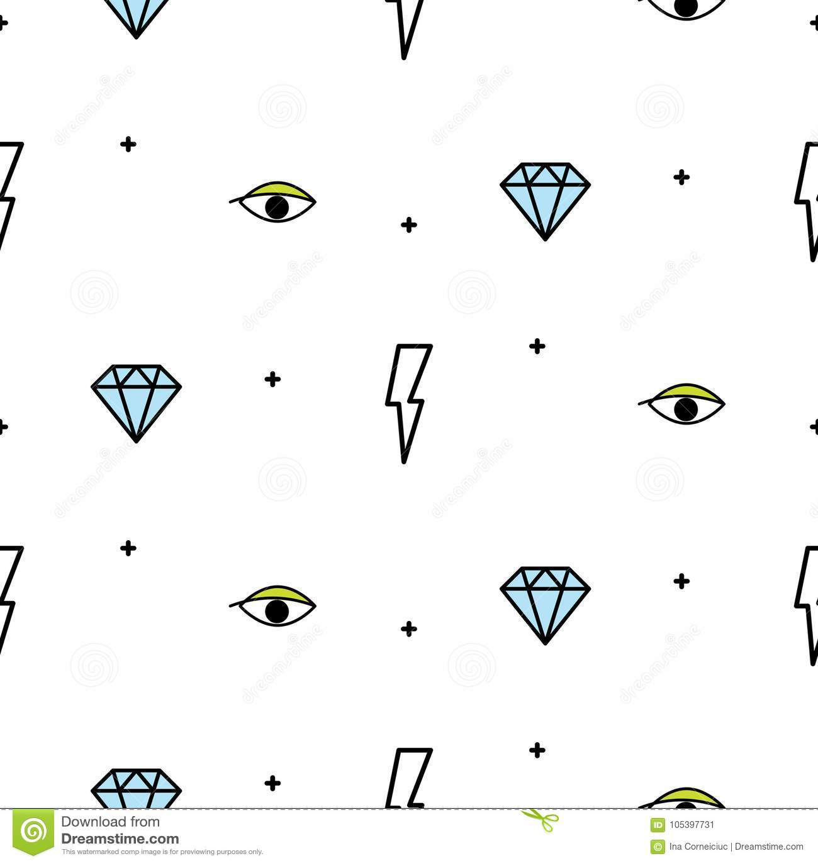 Doodle Hipster Lightning Eye And Diamond Seamless Vector