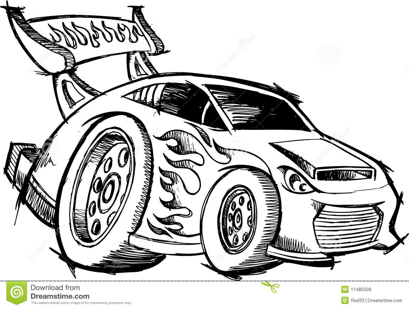 Doodle Hot Rod Race Car Royalty Free Stock Photos