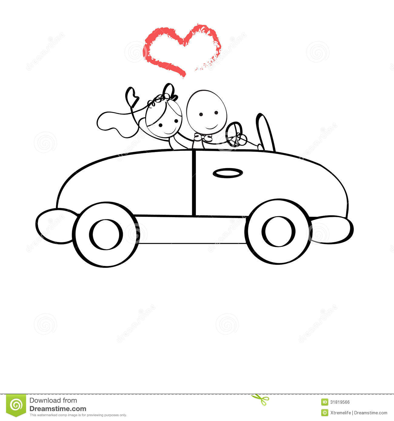 Doodle Illustration The Bride And Groom Riding In A Car