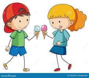 eating icecream doodle clipart roomijs eten geitjes mangiano scarabocchio gelato bambini che vector