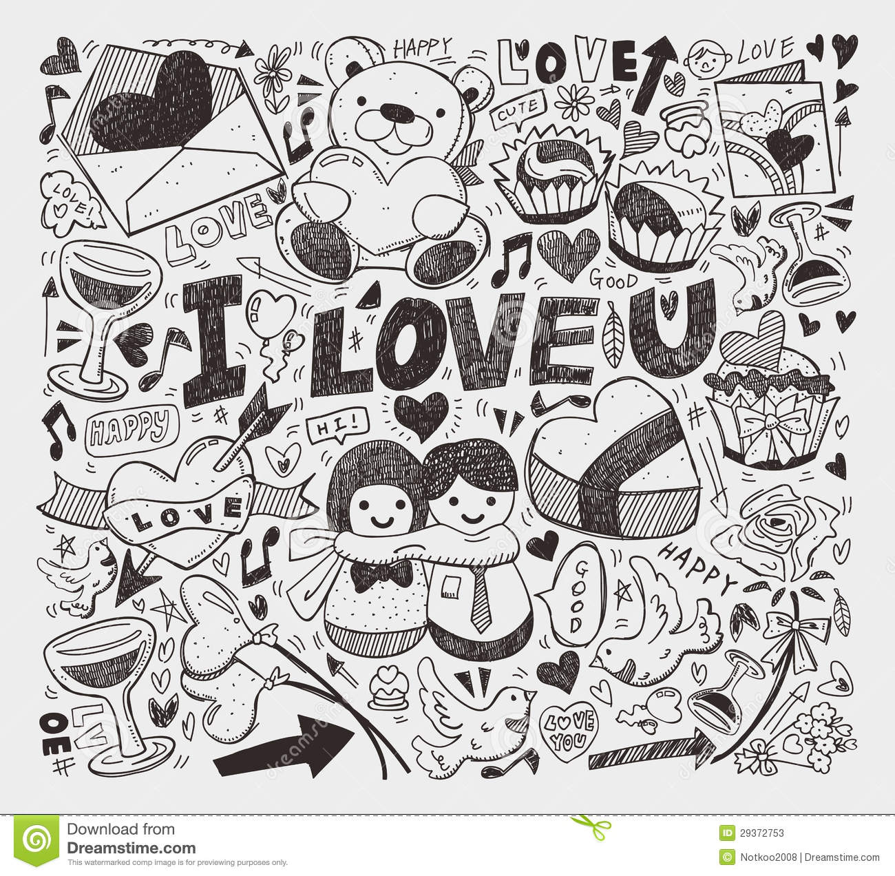 Doodle love element stock vector Illustration of couple