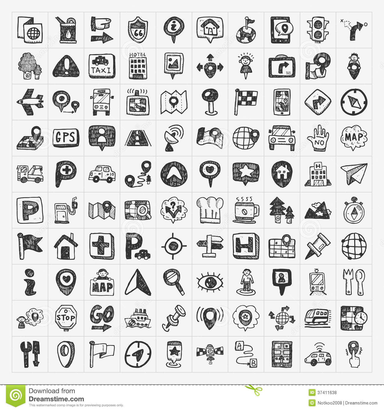 Doodle Map Gps Location Icons Set Stock Vector