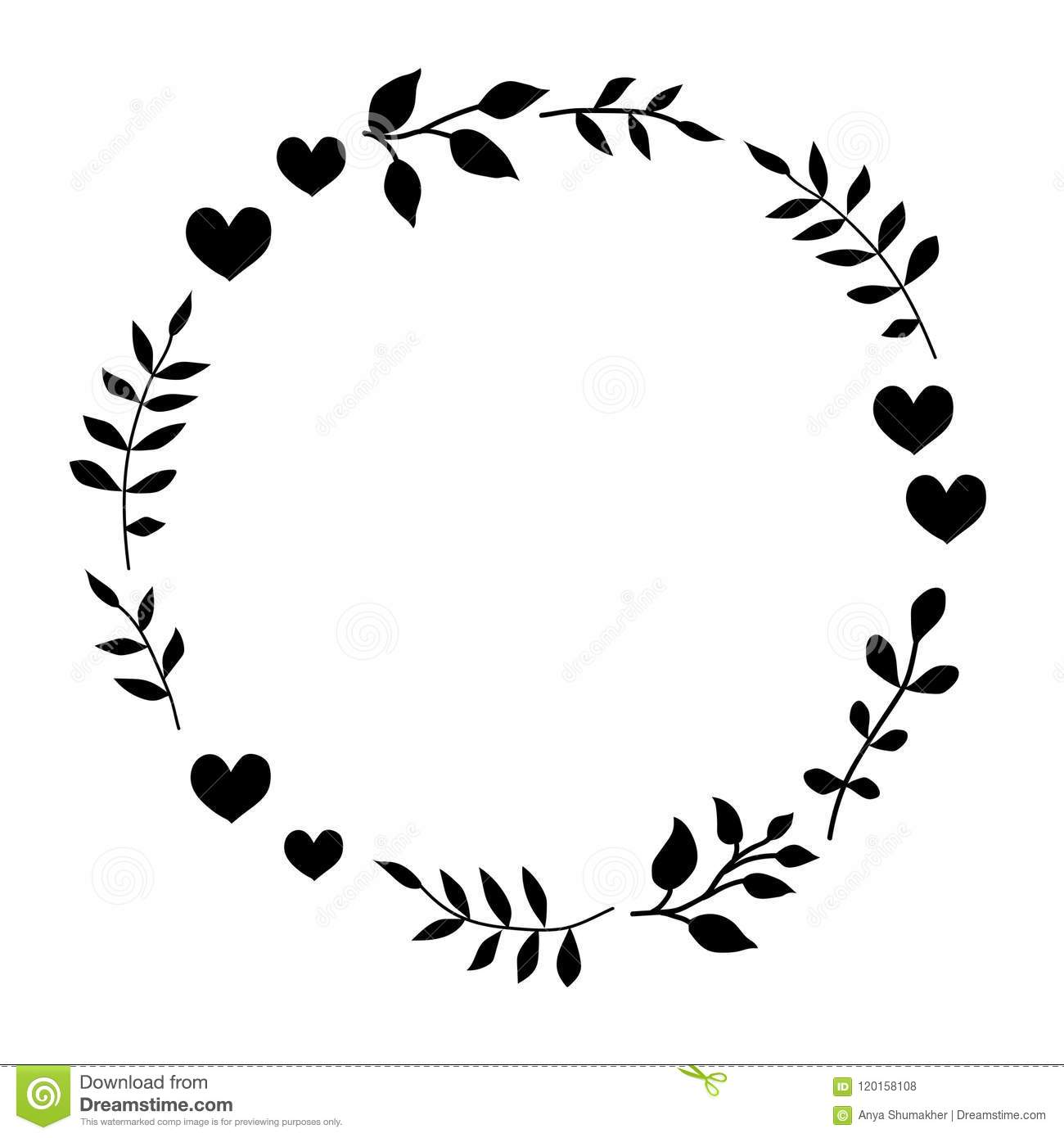 Doodle Monochrome Heart And Leaf Circle Frame On A Black