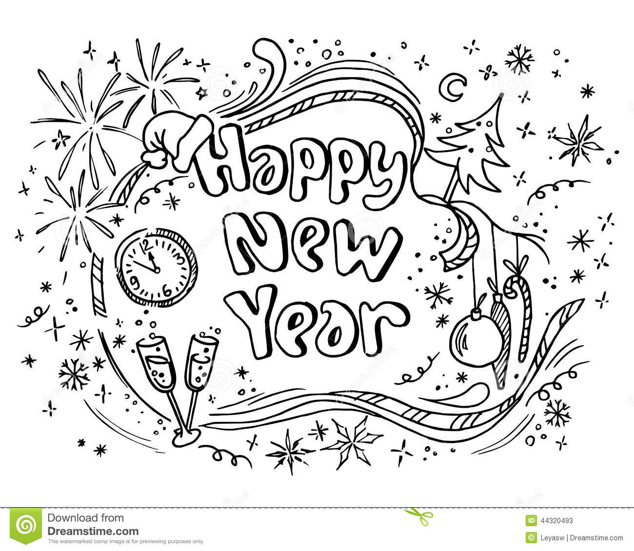 Doodle New Year Stock Vector Illustration Of Graphic