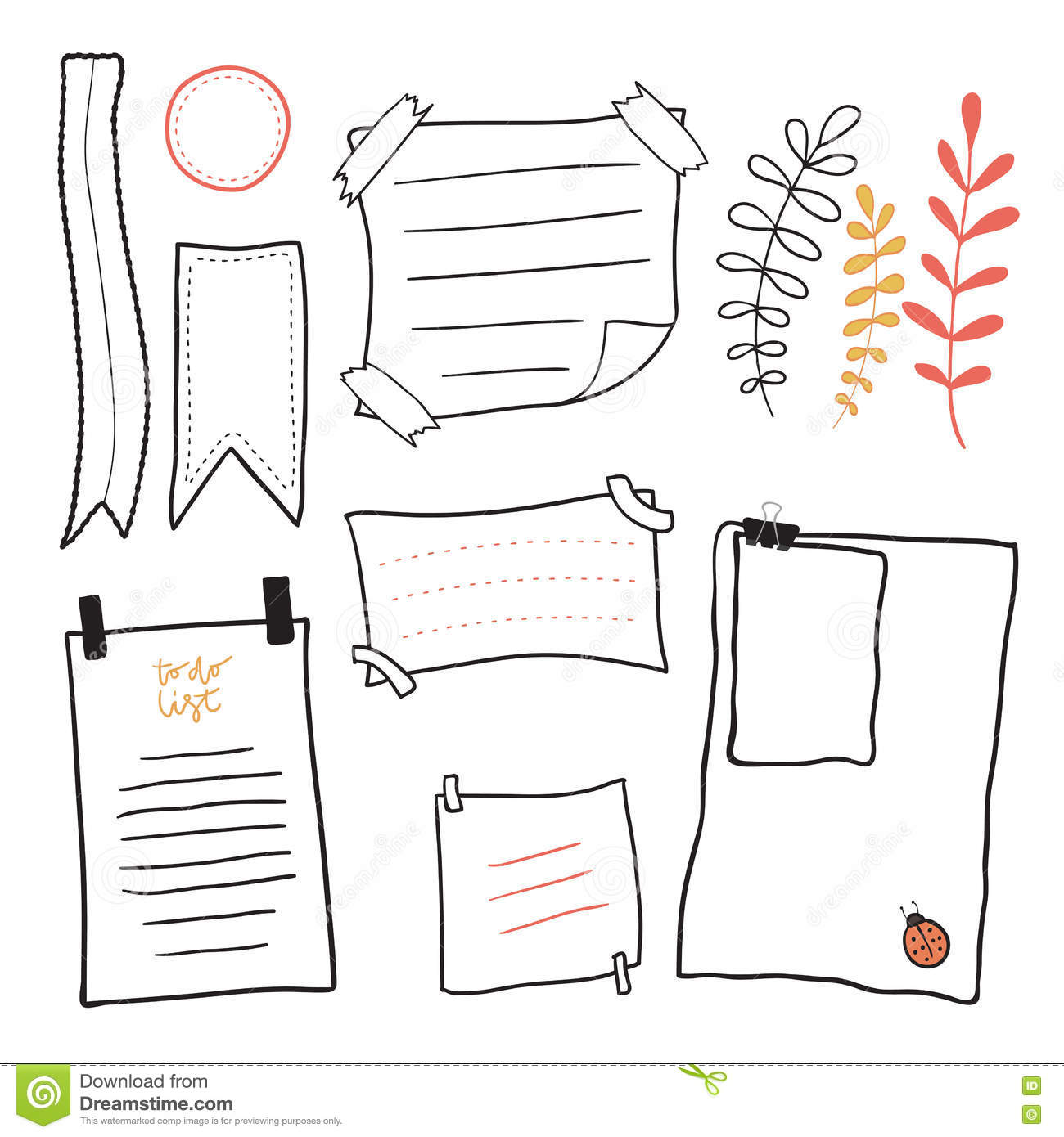 Business Set Of Sticky Notes Messages Cartoon Vector