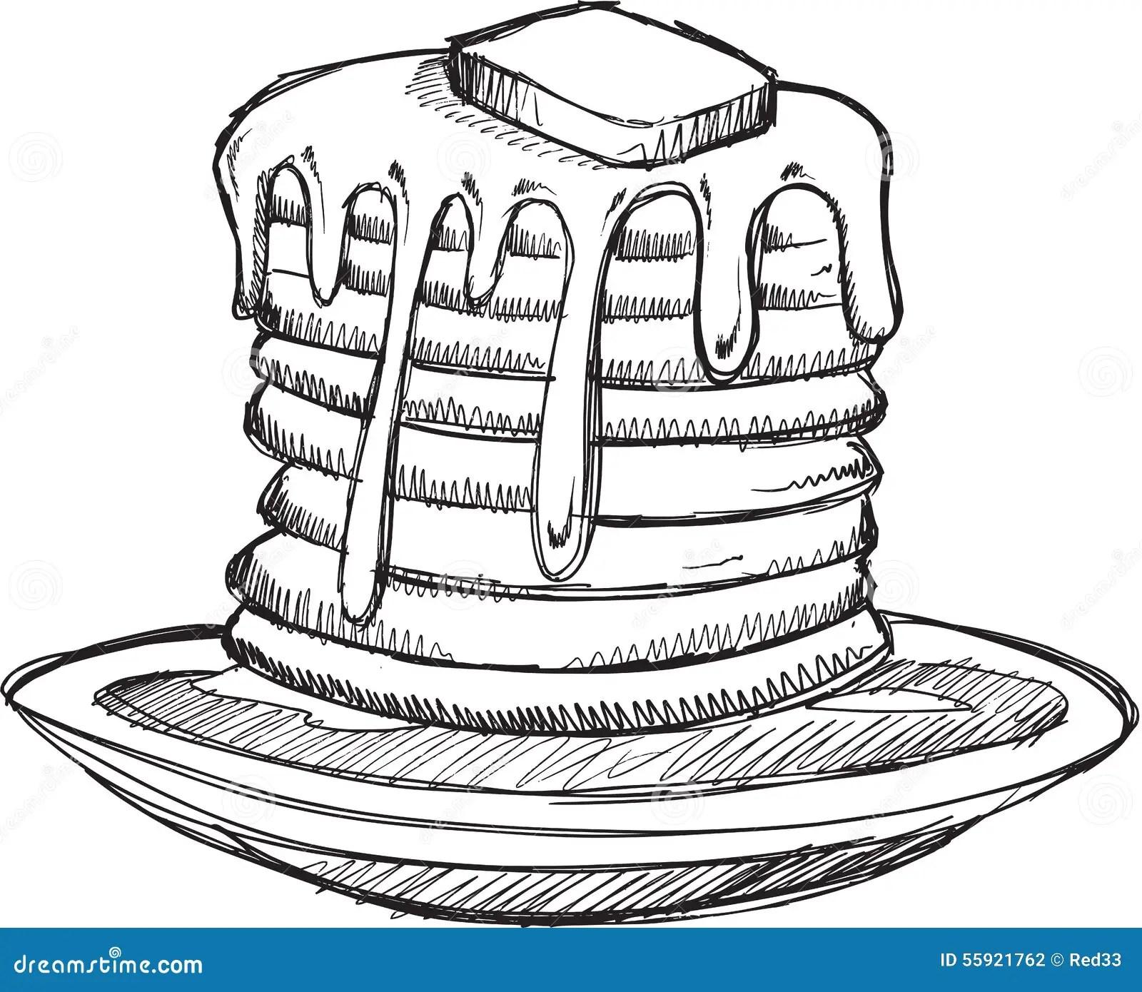Doodle Pancake Breakfast Vector Stock Vector