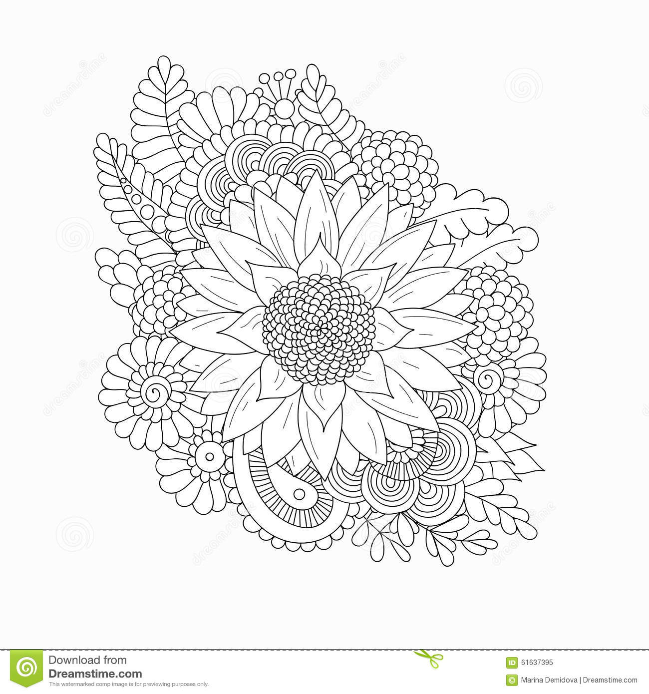 Doodle Pattern With Black And White Sunflower Stock Vector
