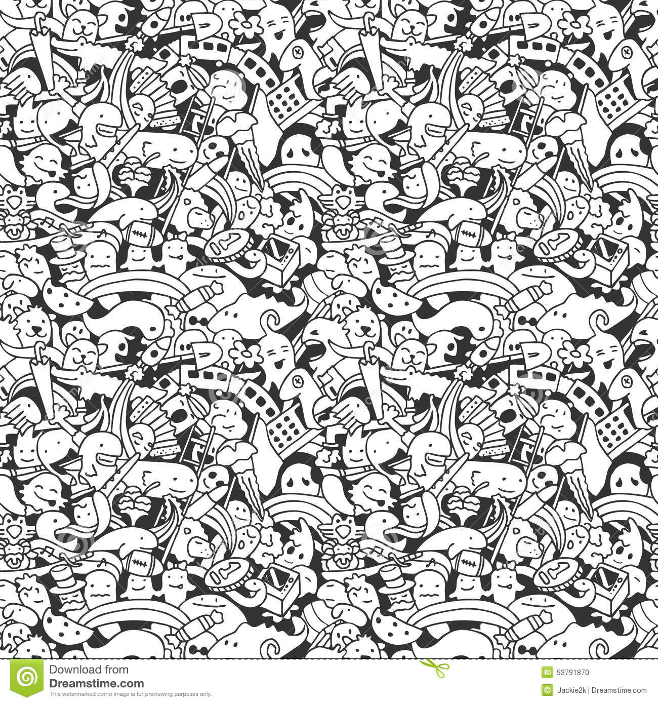 Doodle Pattern With Crazy Doodle Characters Stock Vector