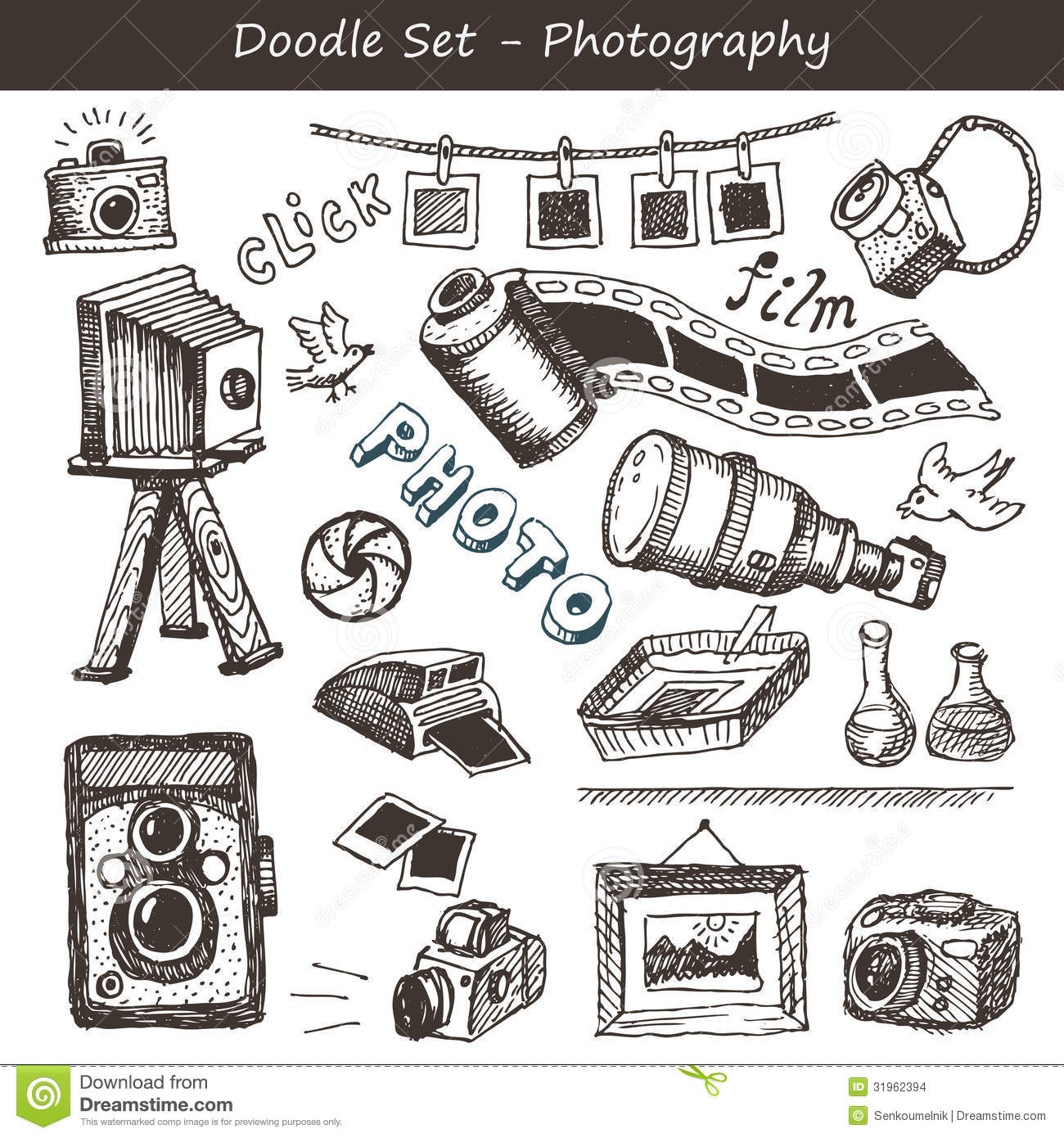 Doodle Photography Set Stock Vector Illustration Of Film