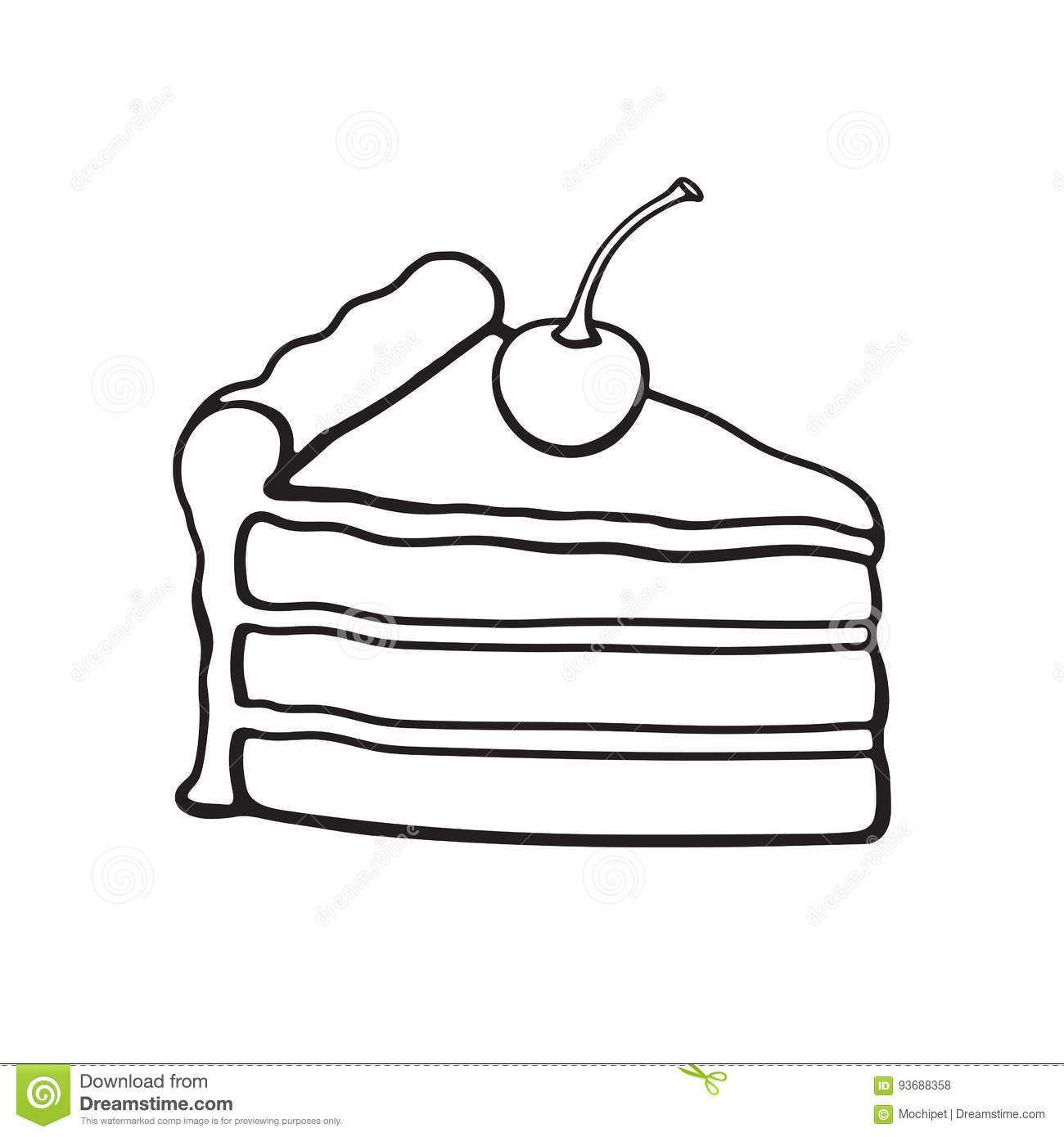 Doodle Of A Piece Of Cake With Cream And Cherry Stock
