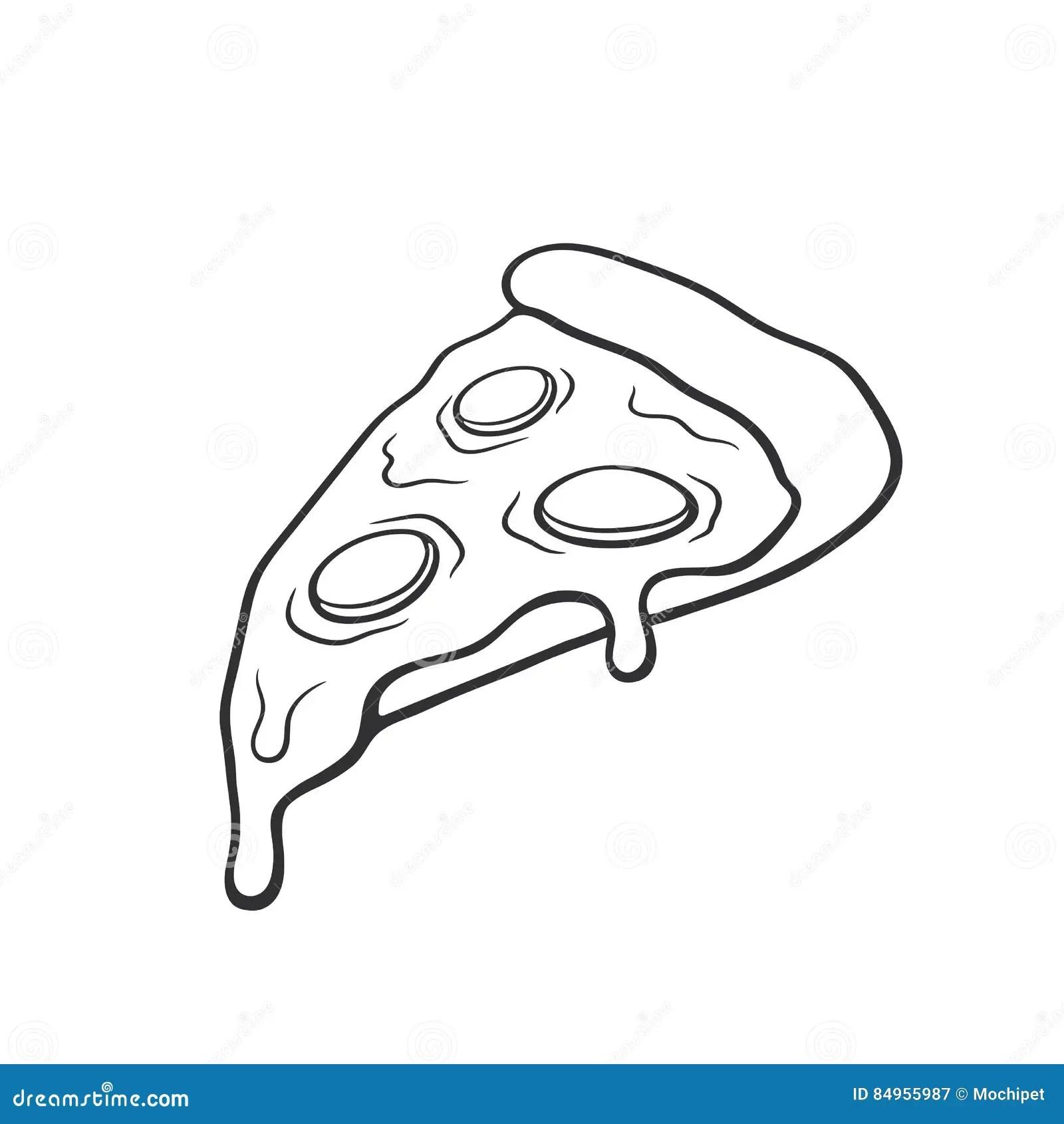 Pizza Slice Sketch Vector Illustration