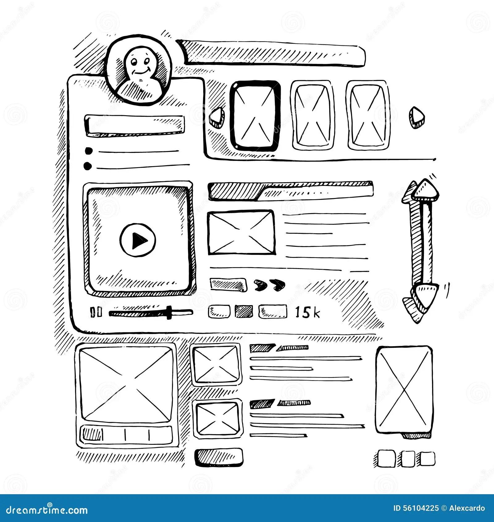 Doodle portfolio wireframe stock vector. Image of design