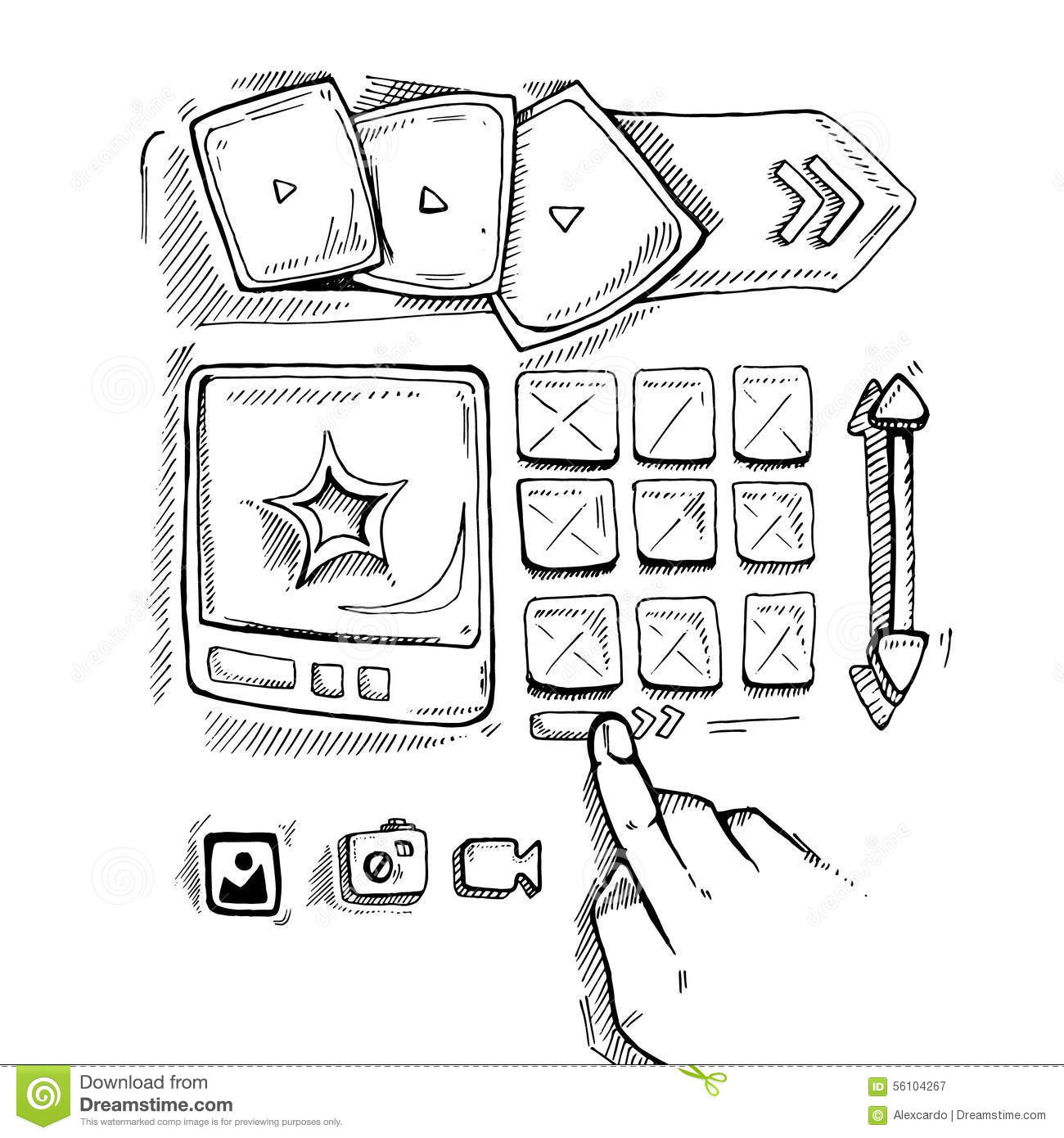 Doodle portfolio wireframe stock vector. Image of