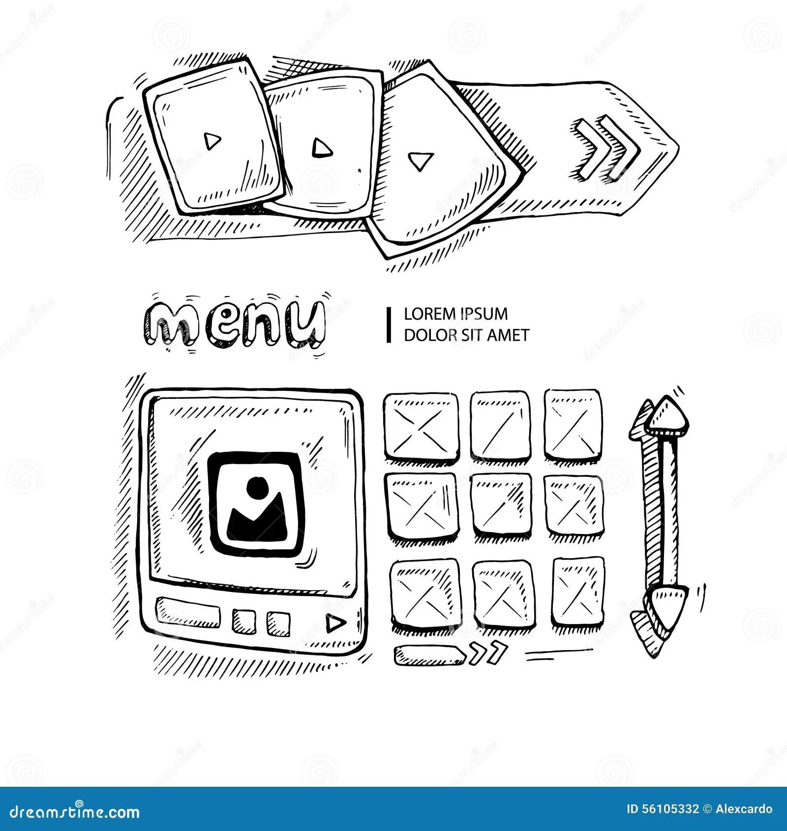 Doodle portfolio wireframe stock vector. Illustration of