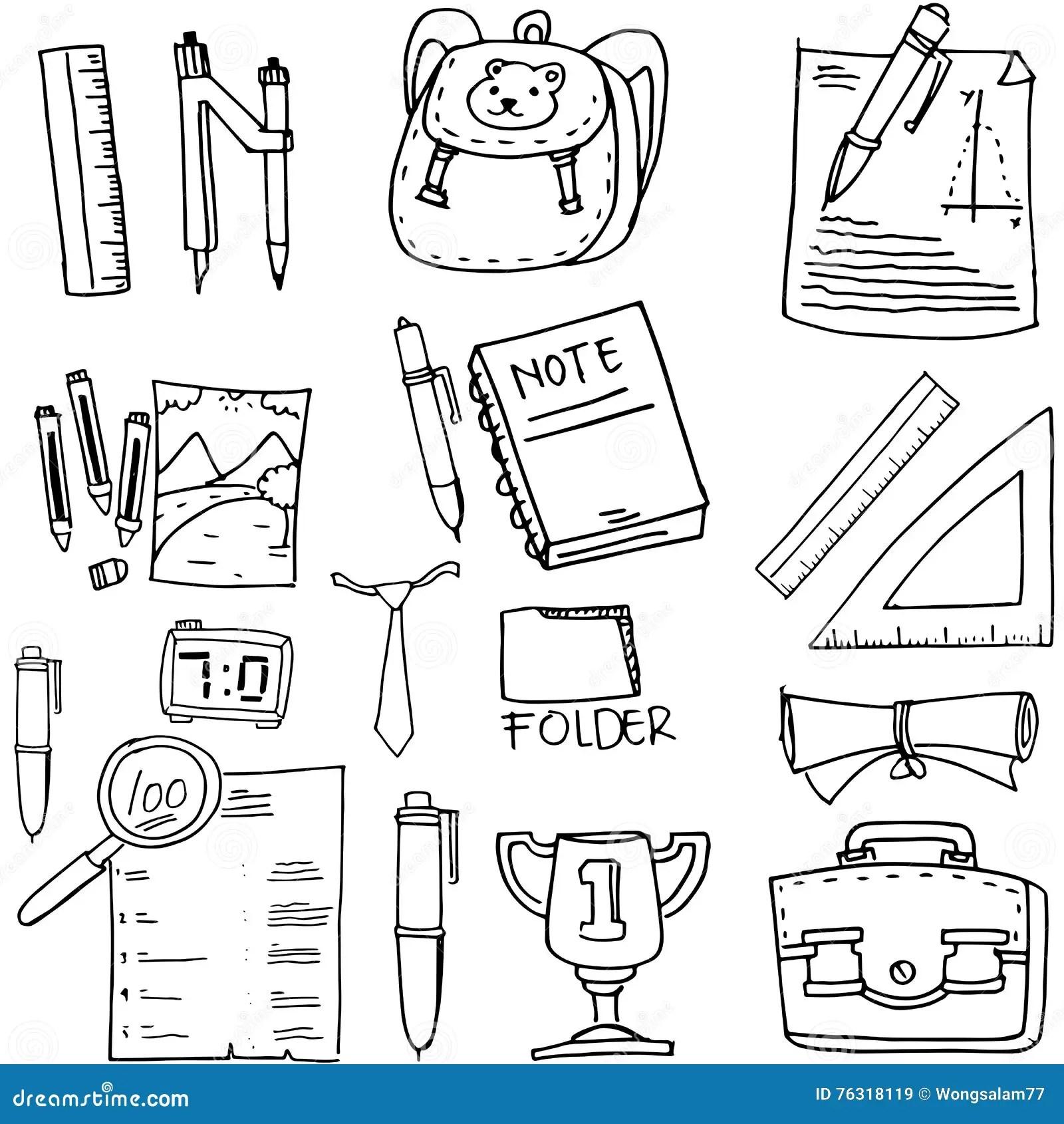 Doodle Of School Supplies Book Paper Ruler Stock Vector