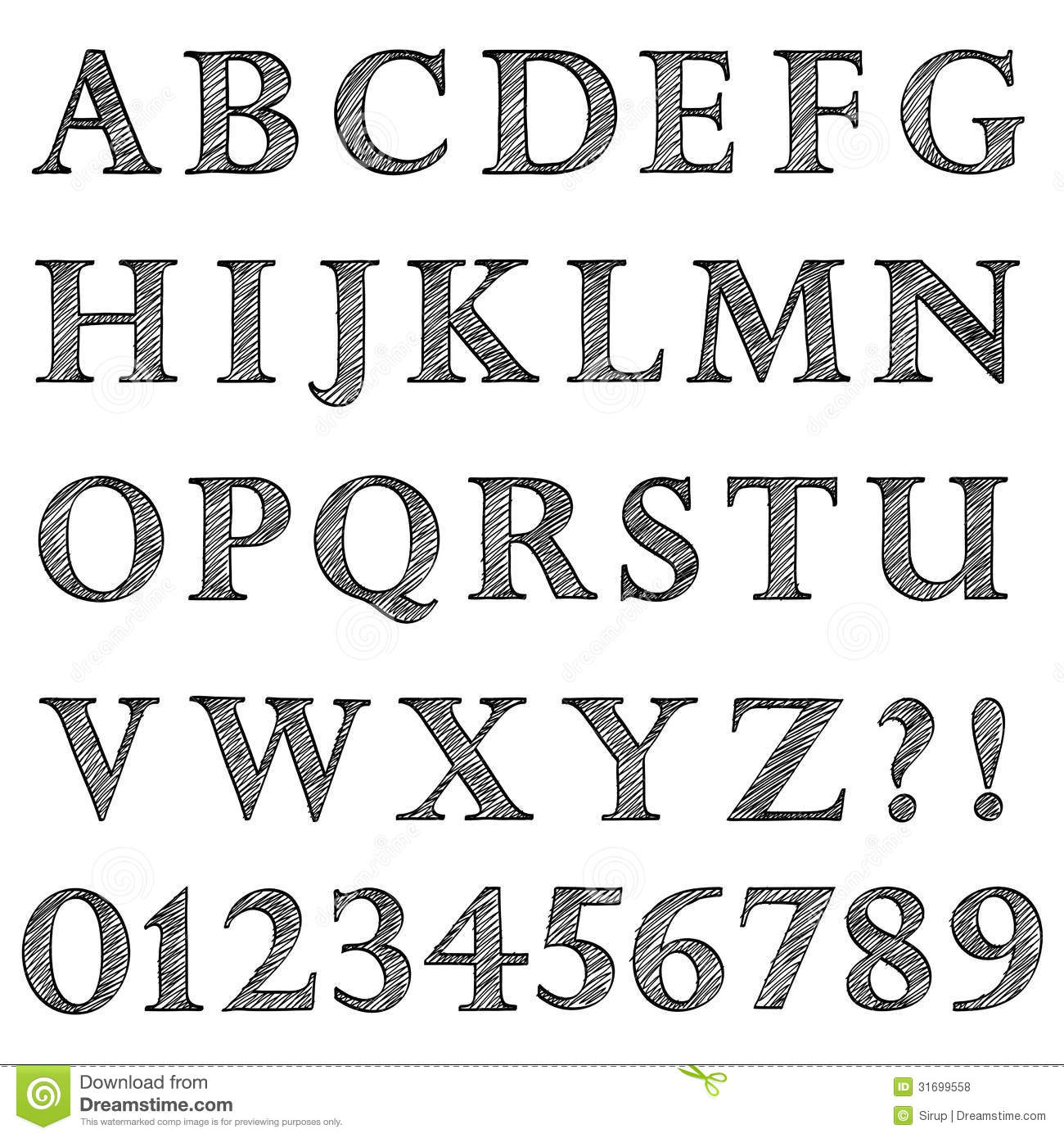 Doodle Scribble Sketch Alphabet Letters And Digits Stock