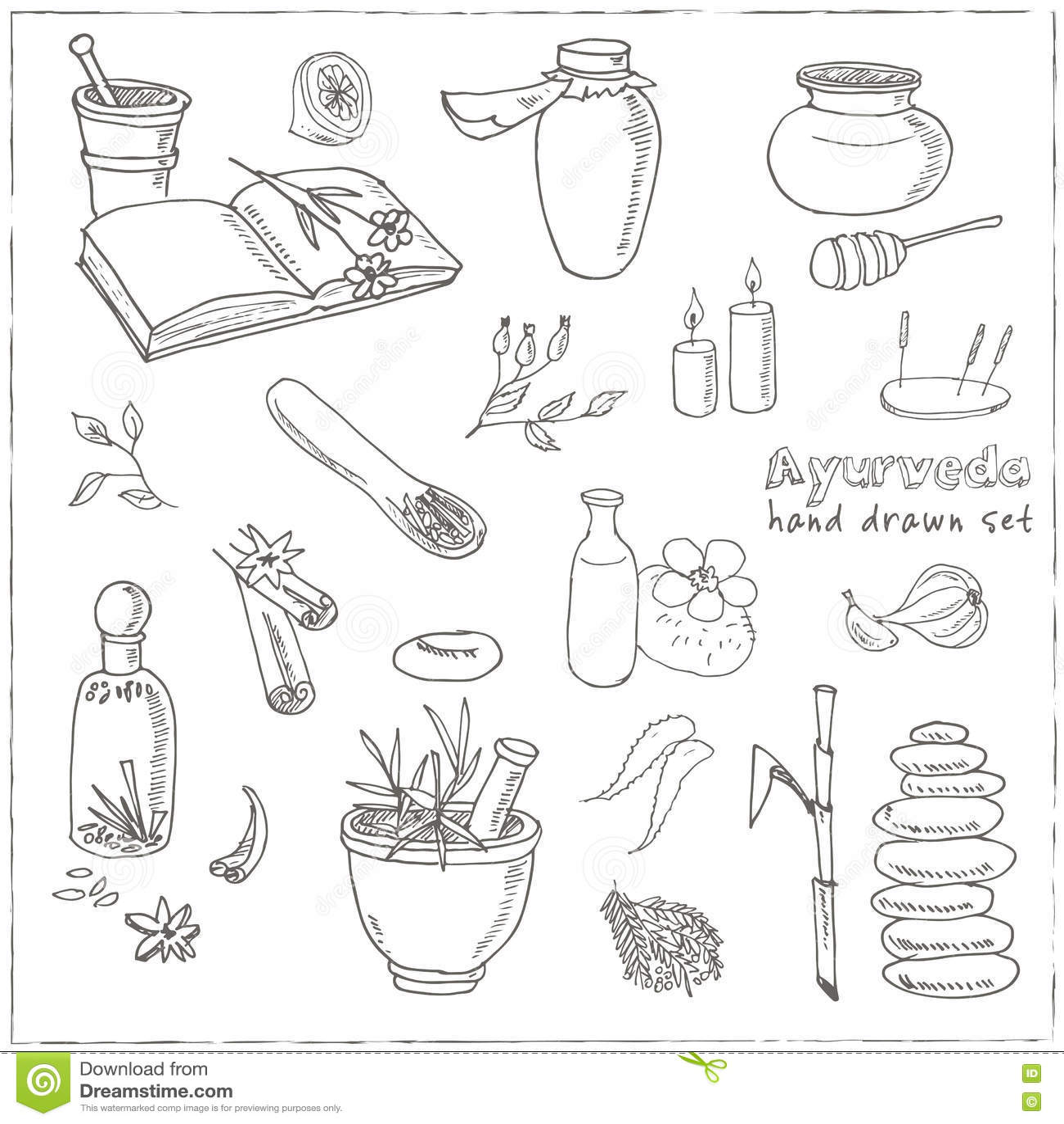 Doodle Set Of Ayurveda Elements Vintage Illustration Stock