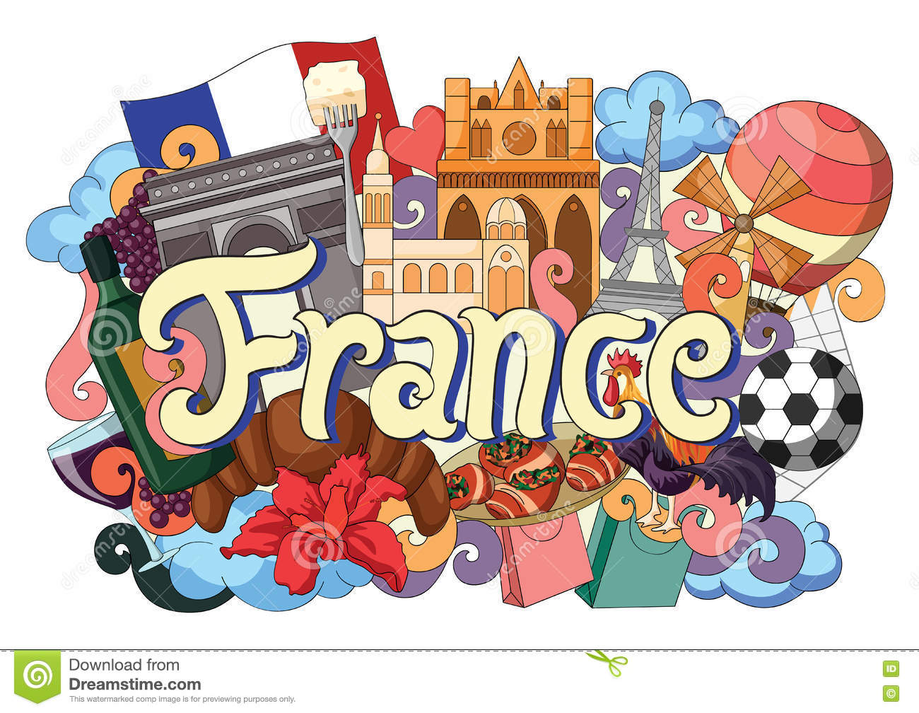 Doodle Showing Architecture And Culture Of France Stock