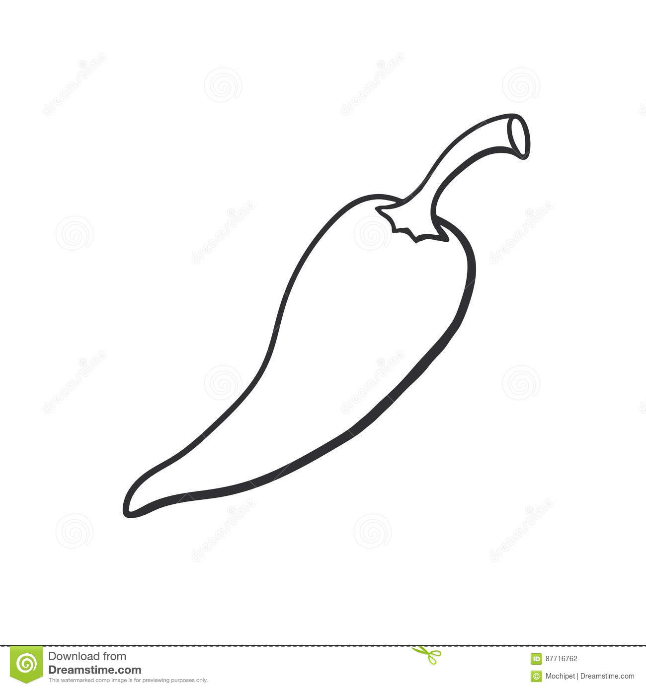 Doodle Spicy Hot Chili Pepper Stock Vector