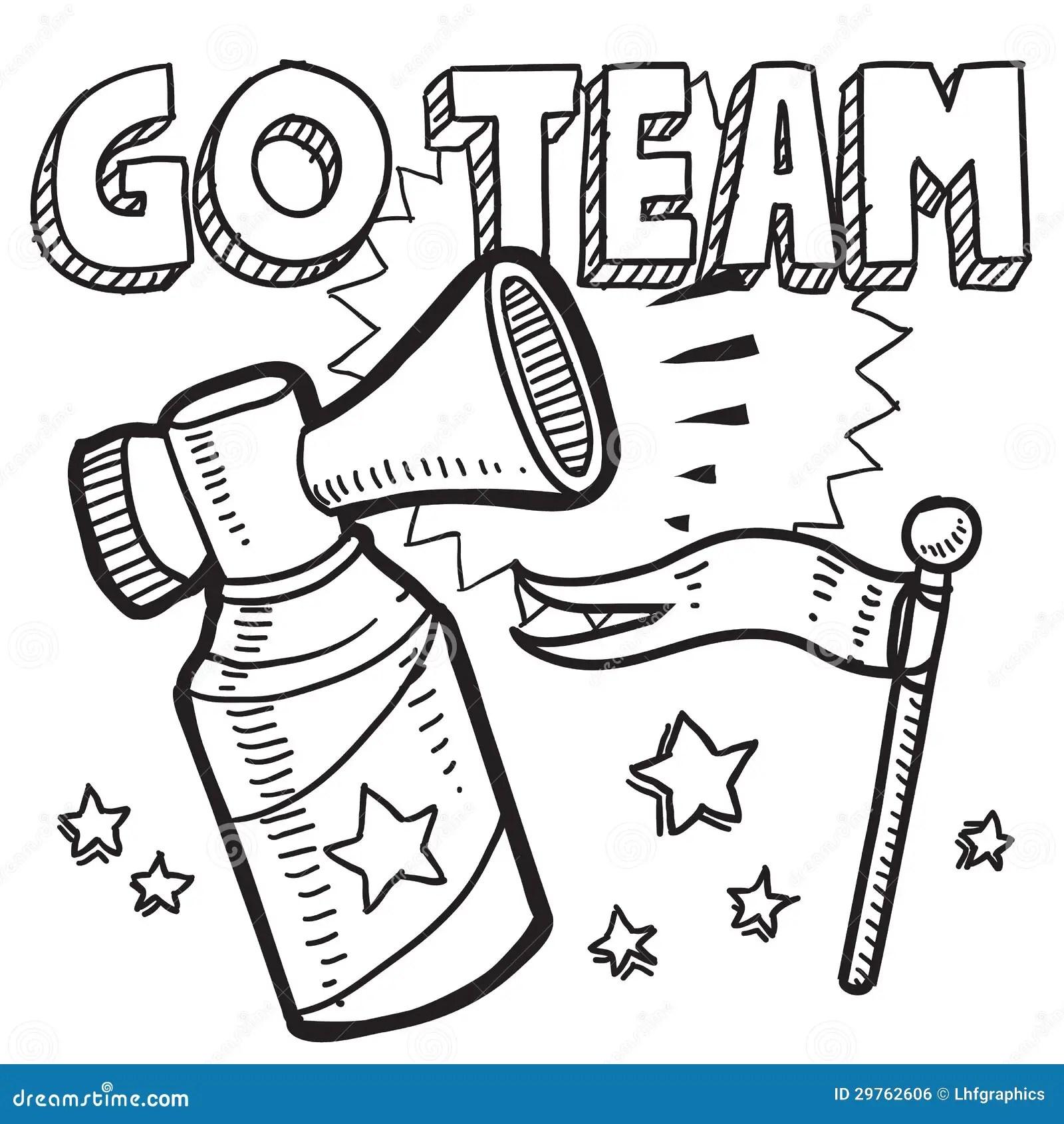 Go Team Sports Air Horn Sketch Stock Vector Illustration