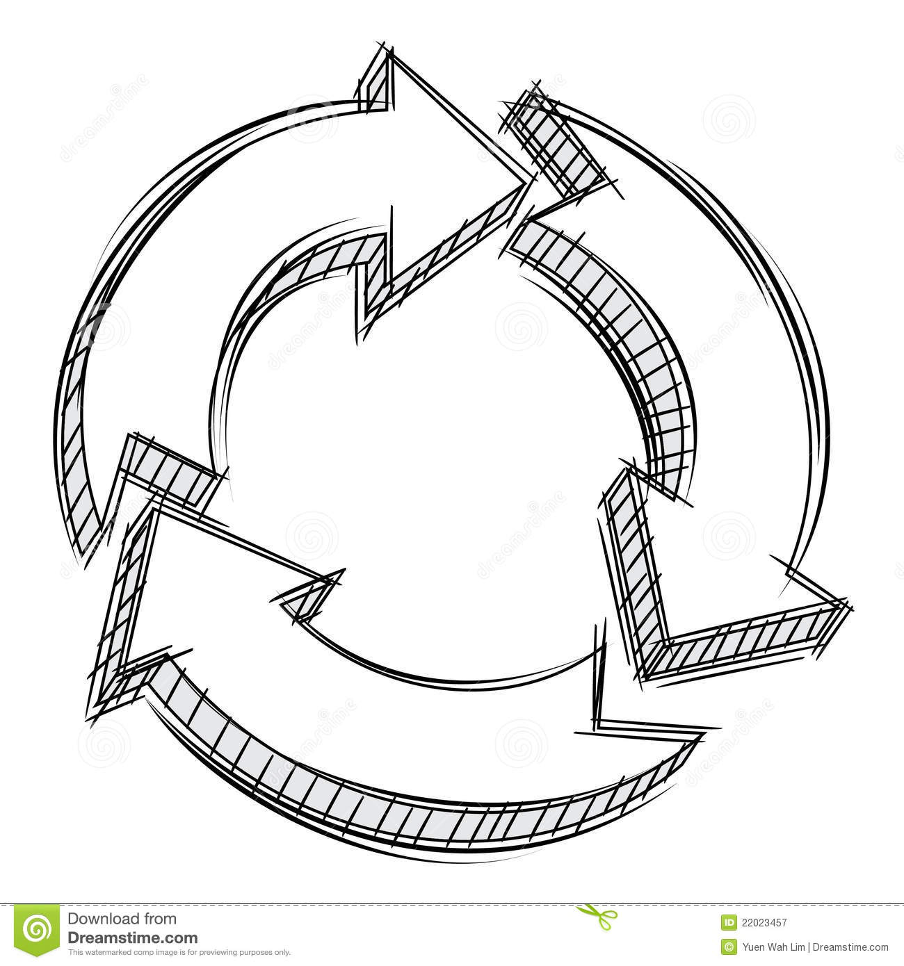 Doodle Of Three Circular Arrows Royalty Free Stock