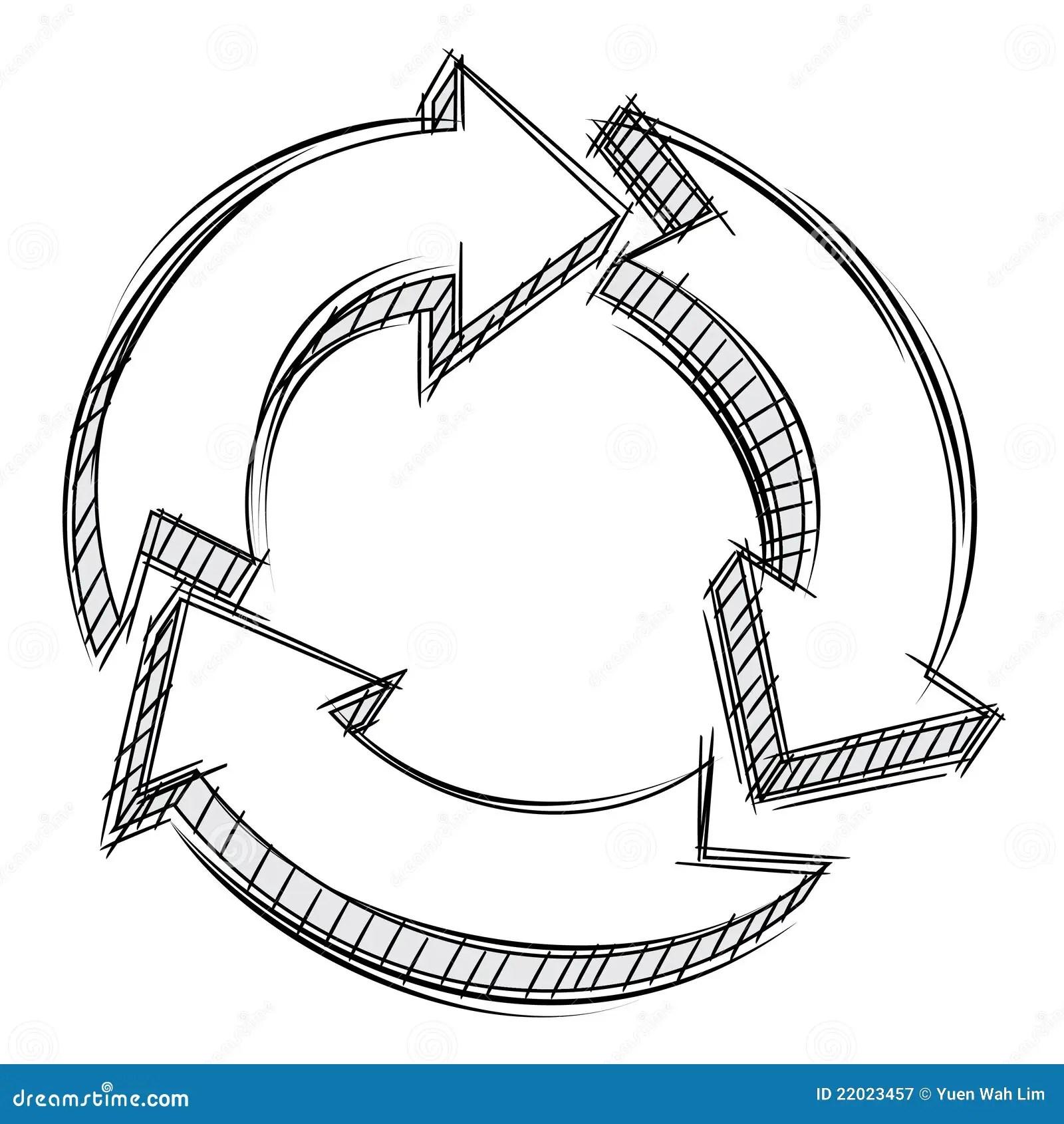 arrow circular process diagram anderson plug wiring for caravan doodle of three arrows stock vector