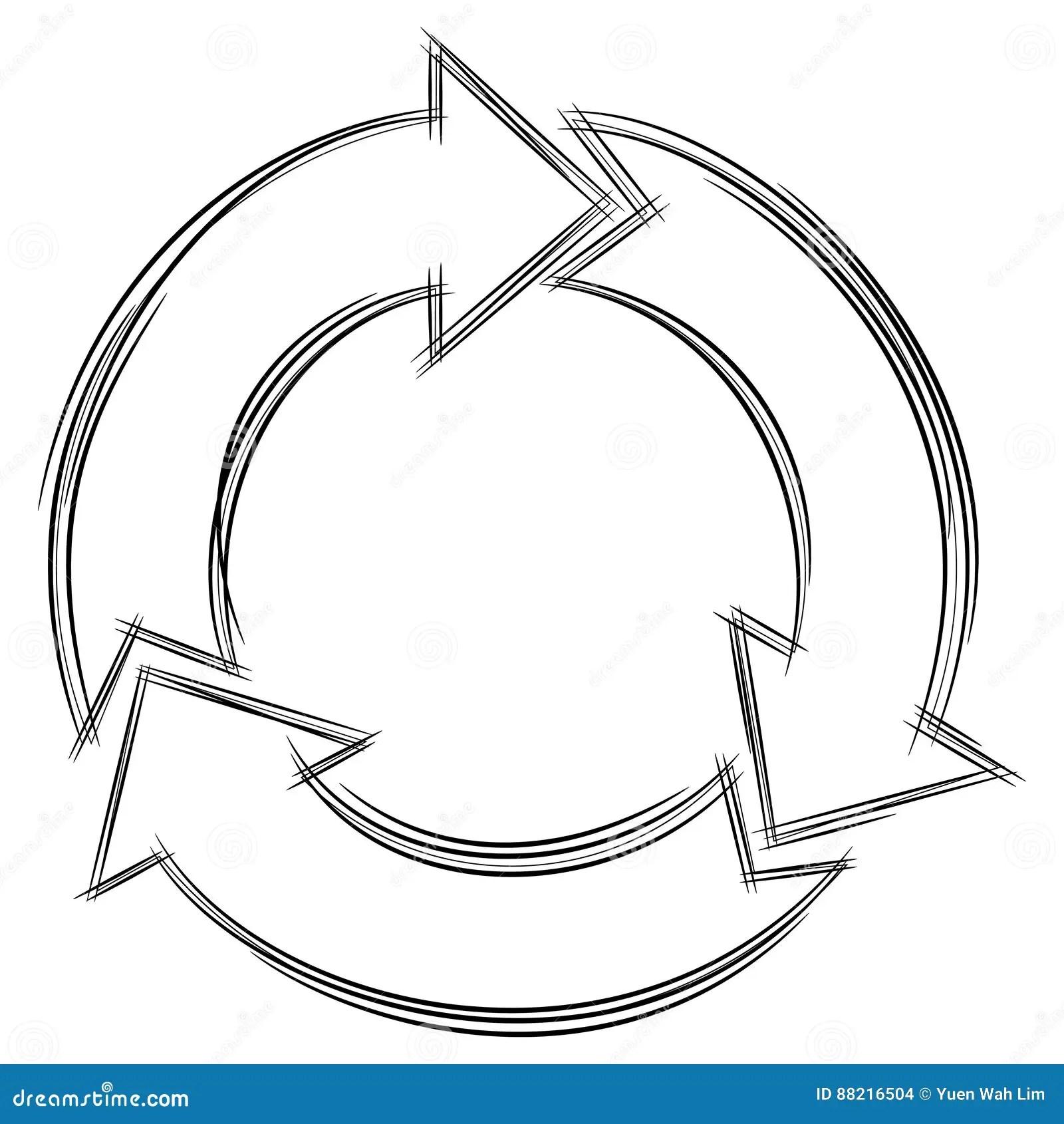 Doodle Of Three Circular Arrows Stock Vector