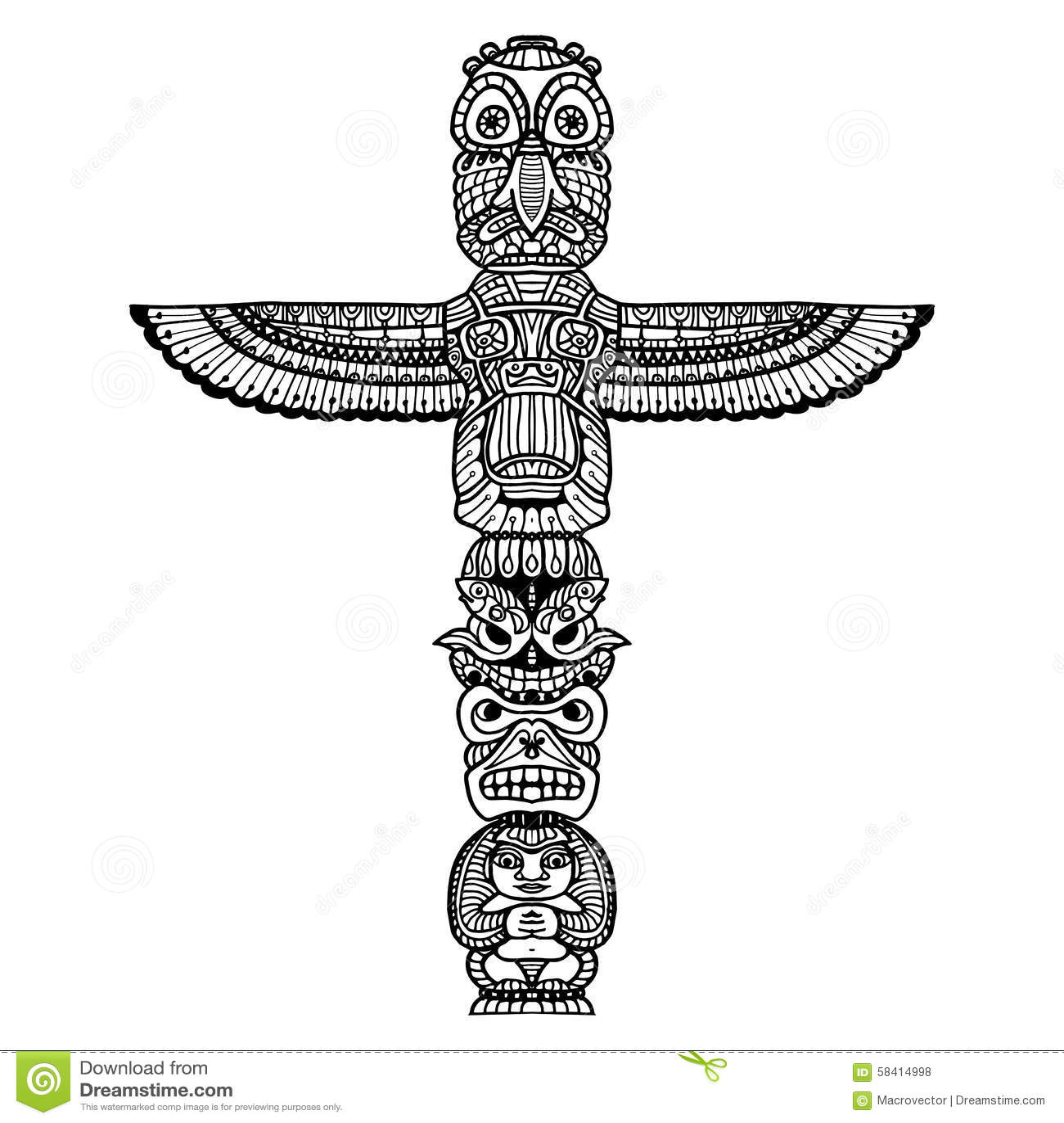 Doodle Totem Illustration Stock Vector Illustration Of