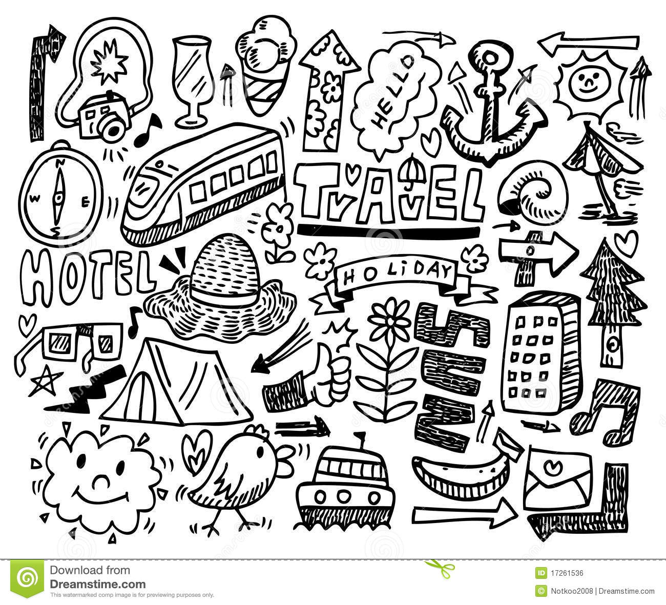Doodle Travel Stock Vector Illustration Of Sketching