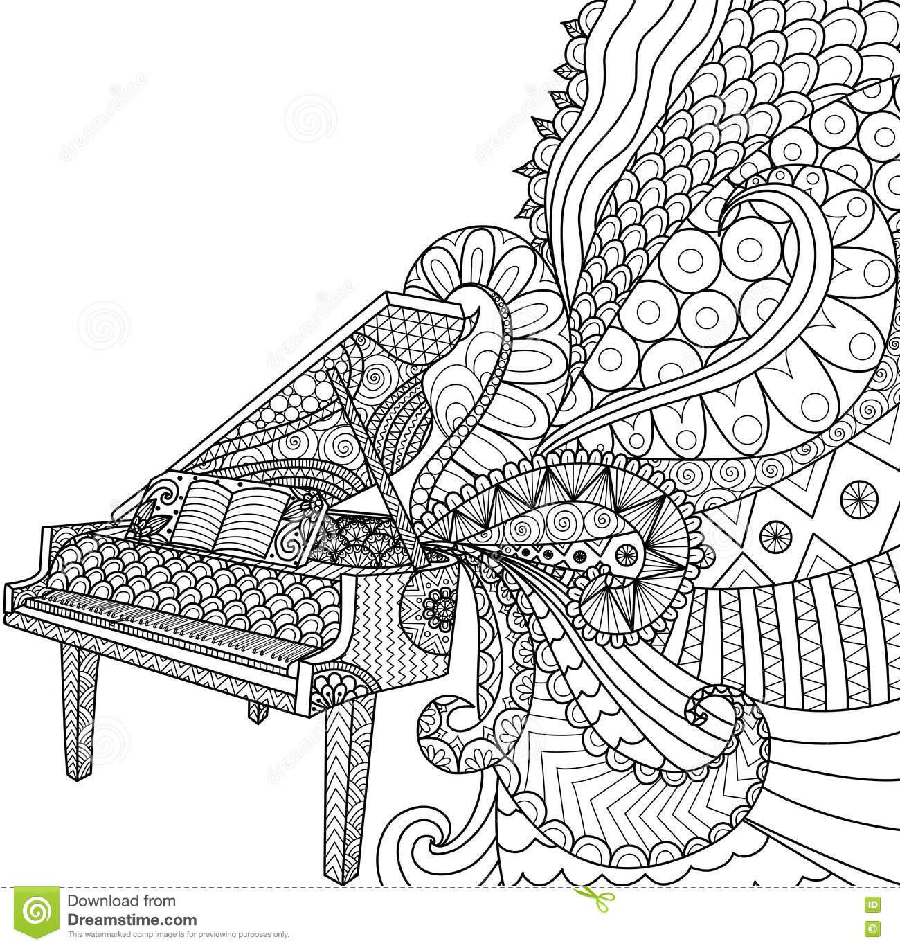 Doodles Design Of Piano For Coloring Book For Adult Poster Cards Design Element T Shirt