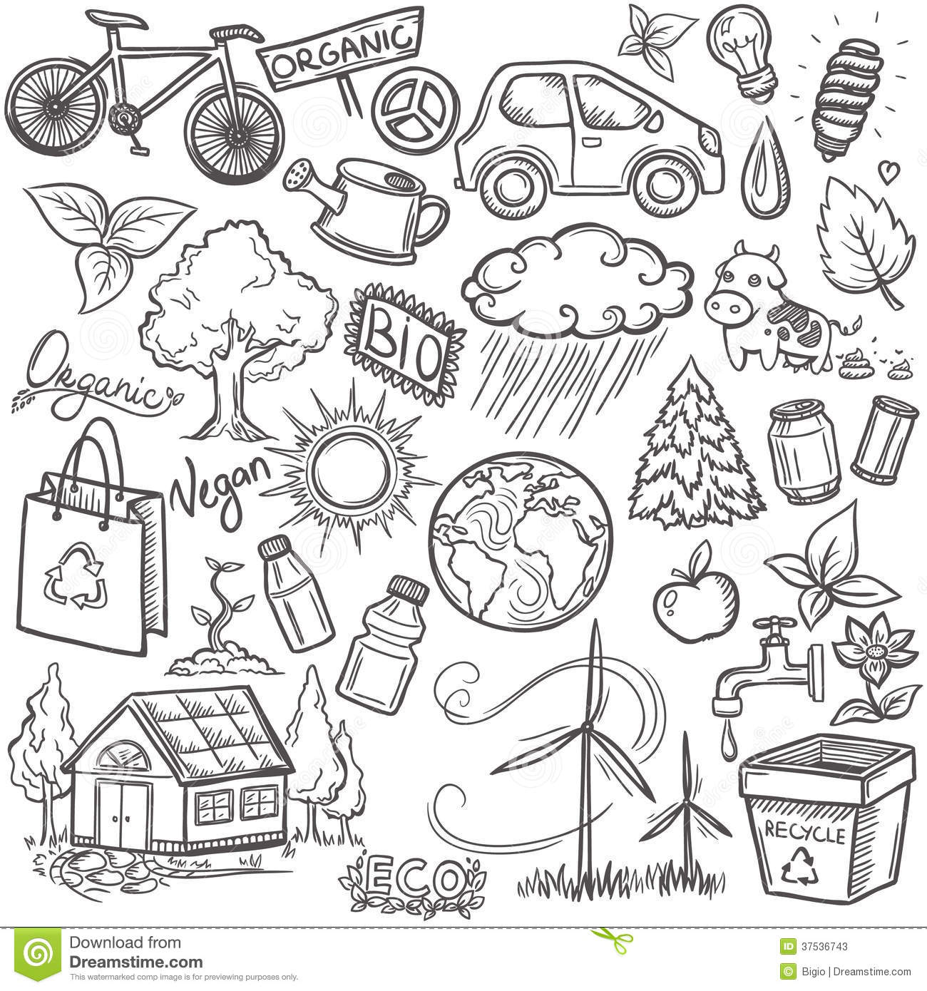Doodles Eco Icon Set Stock Photos