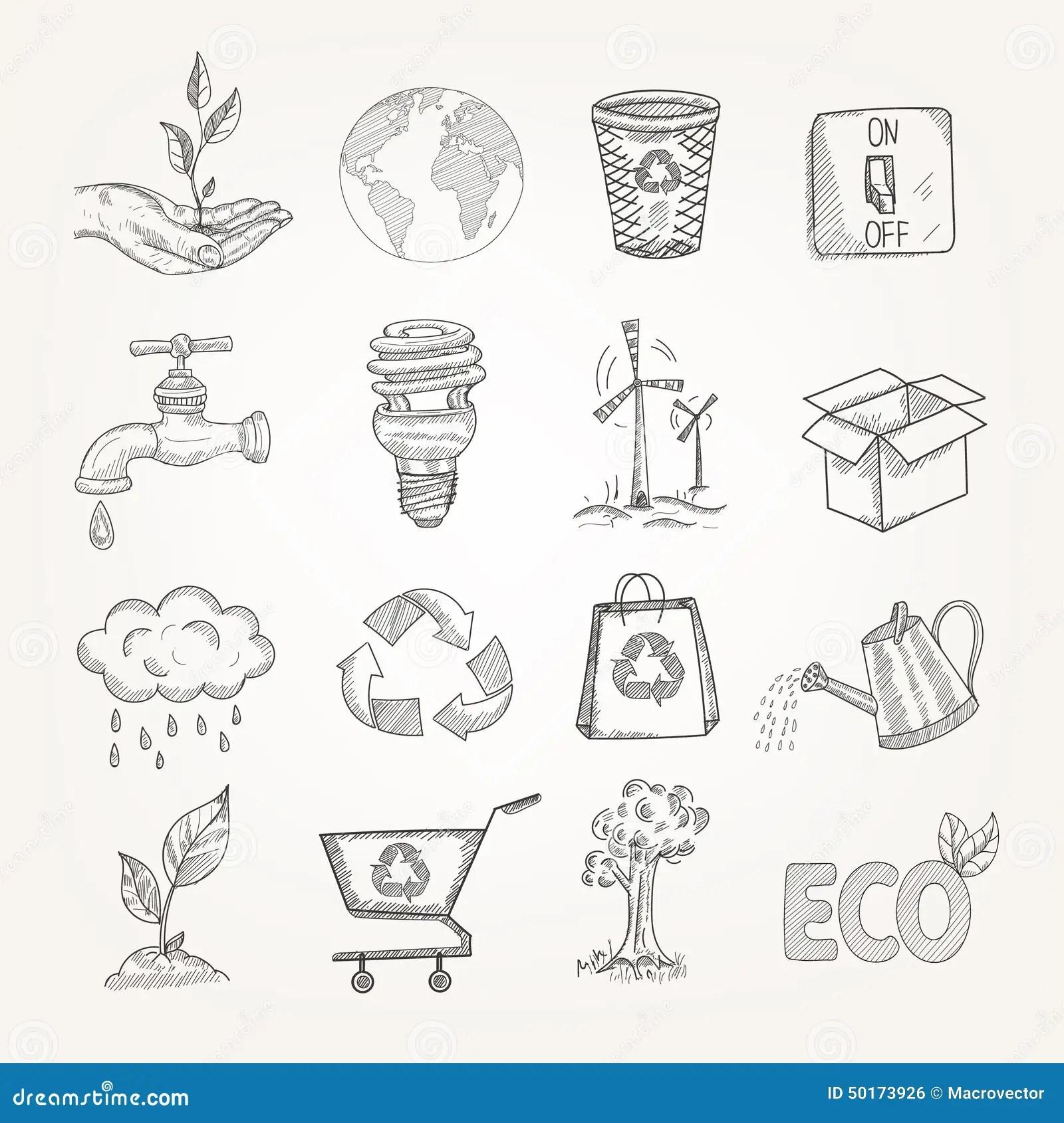 Doodles Ecology Set Stock Vector