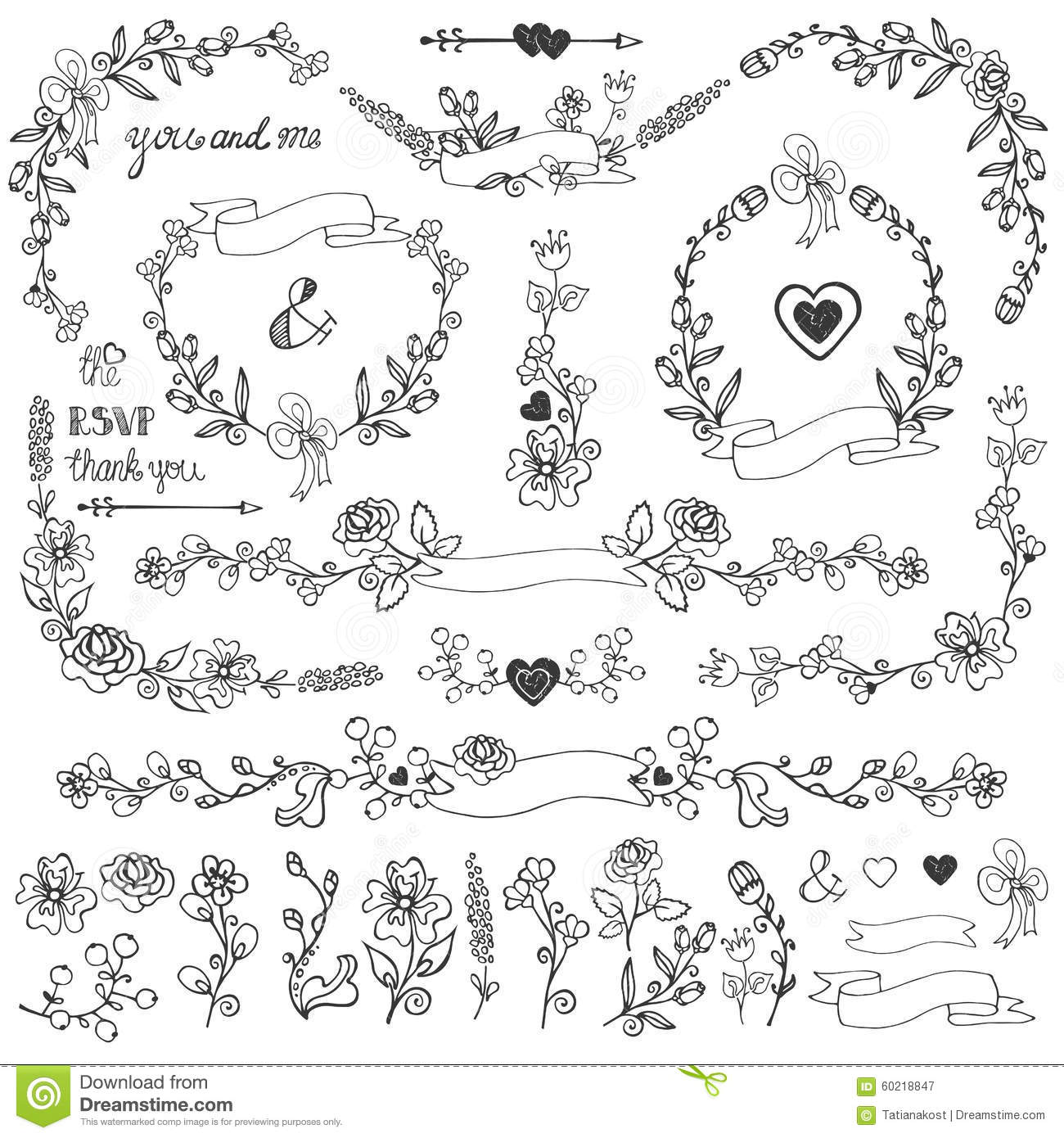 Cute Wedding Invitation Card With Floral Doodles Vector Illustration