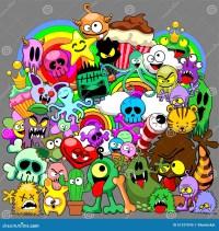 Doodles Monsters Saga Stock Vector - Image: 61337045