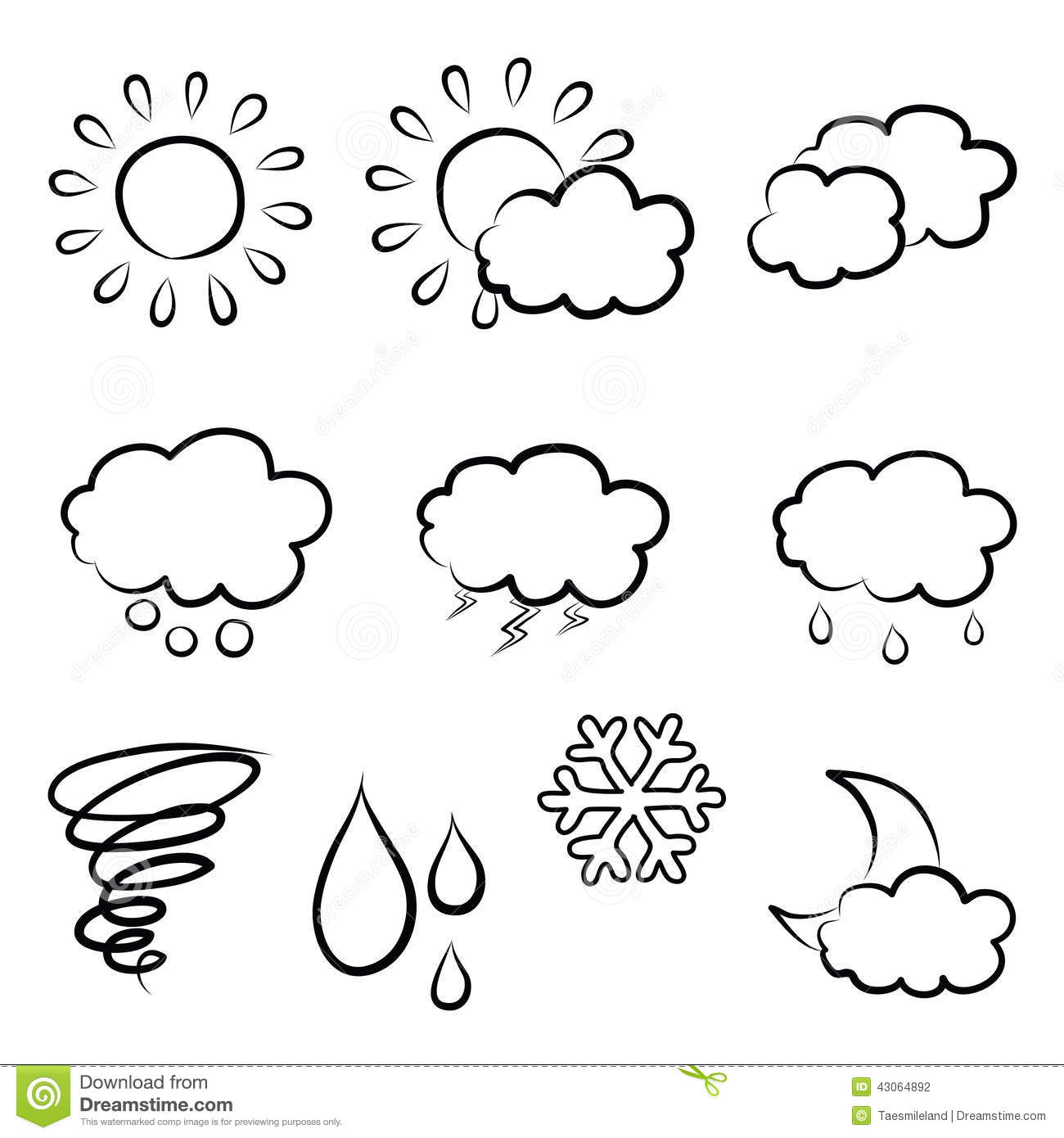 Doodles Weather Icon Set Stock Vector Illustration Of
