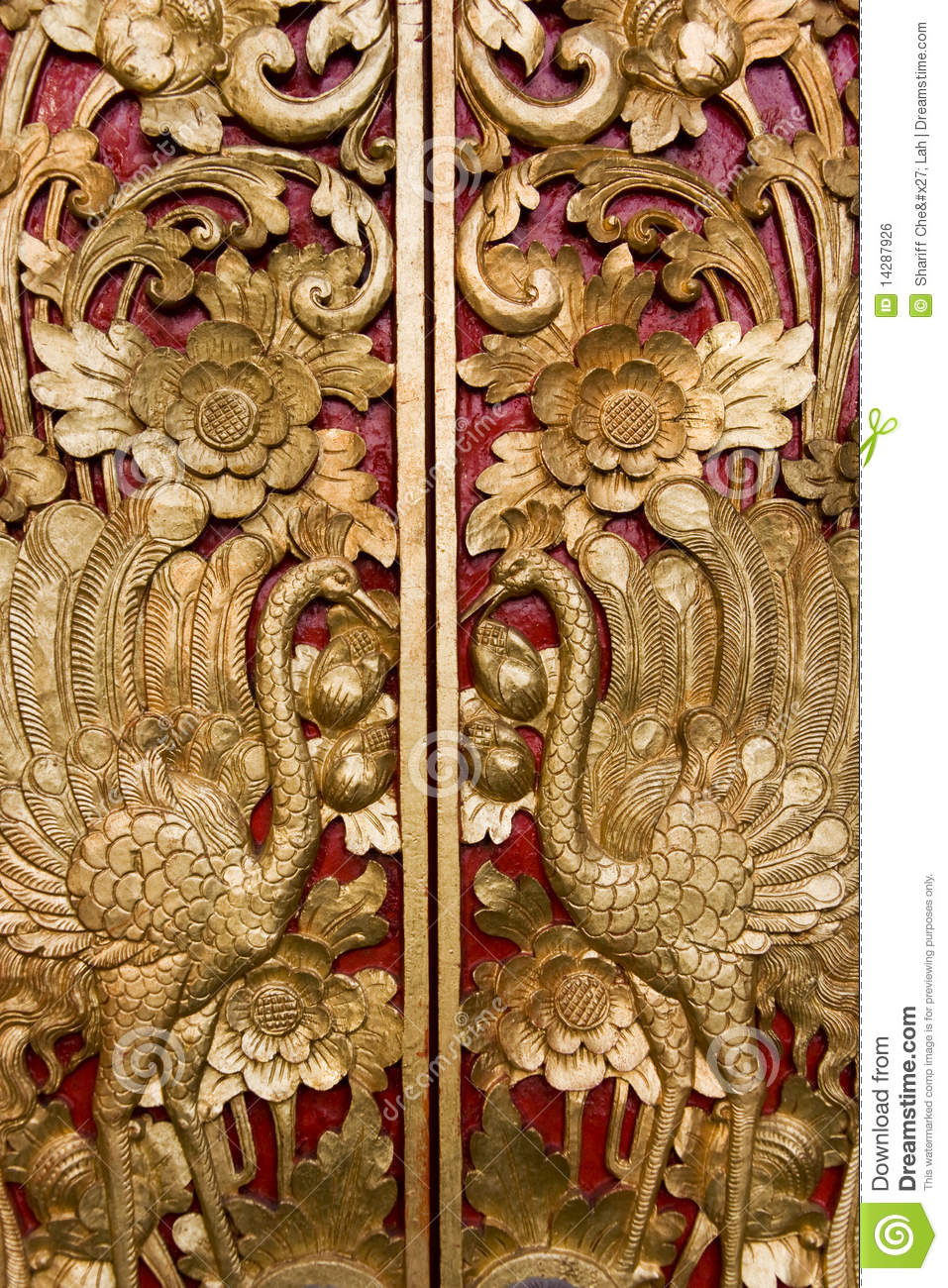 Door Carving At Pura Masceti Bali Indonesia Stock Photo
