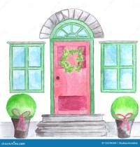 Door with christmas wreath stock illustration ...