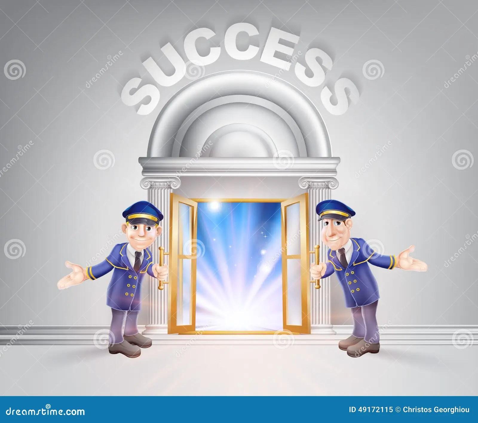 Door To Success And Doormen Stock Vector - Illustration of cartoon. celebrities: 49172115