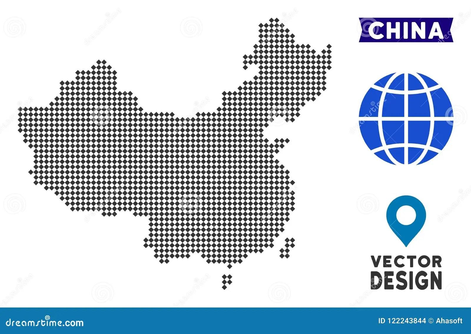 Dot China Map Stock Vector Illustration Of Rhombus