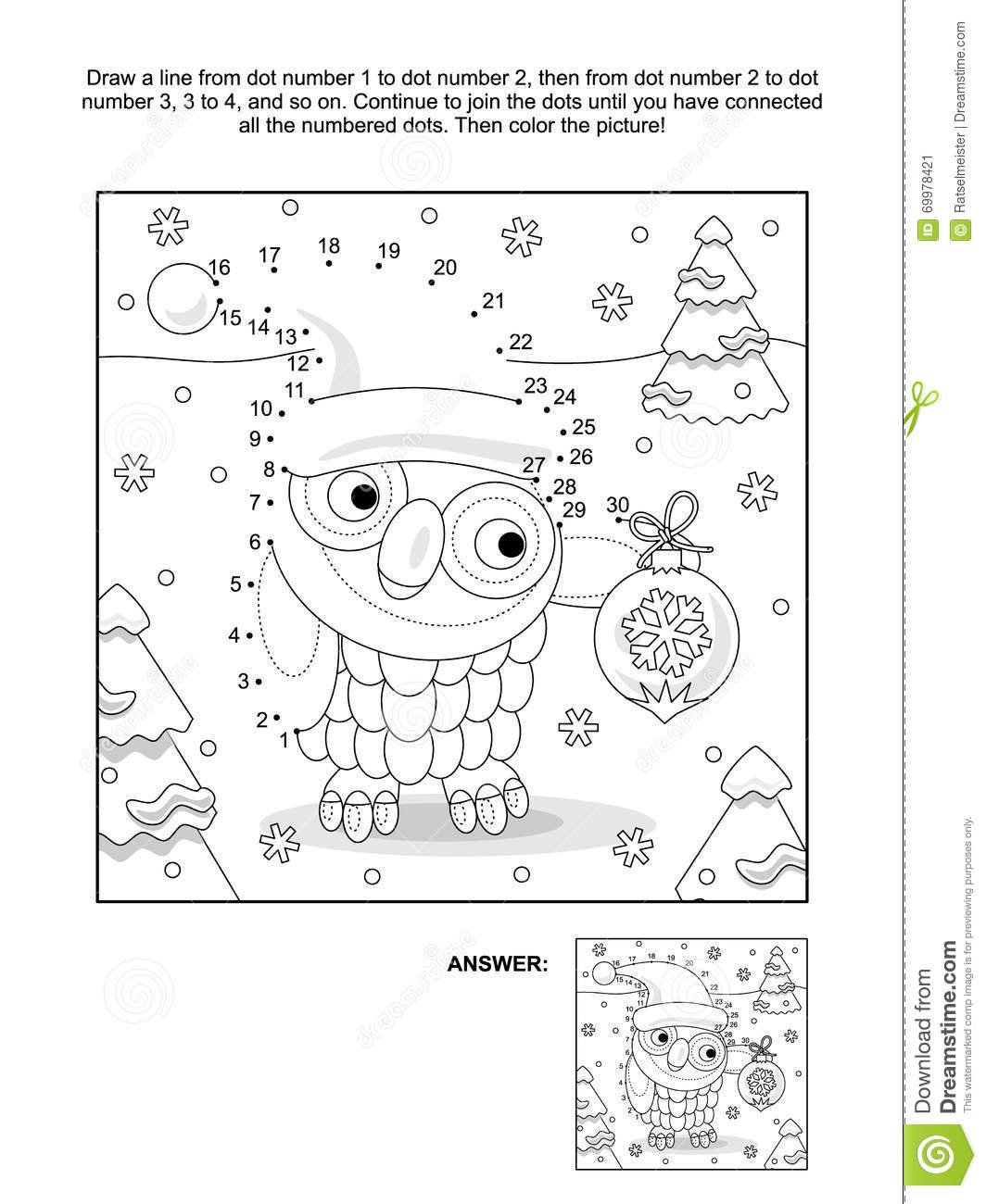 Dot To Dot And Coloring Page With Christmas Owl Stock