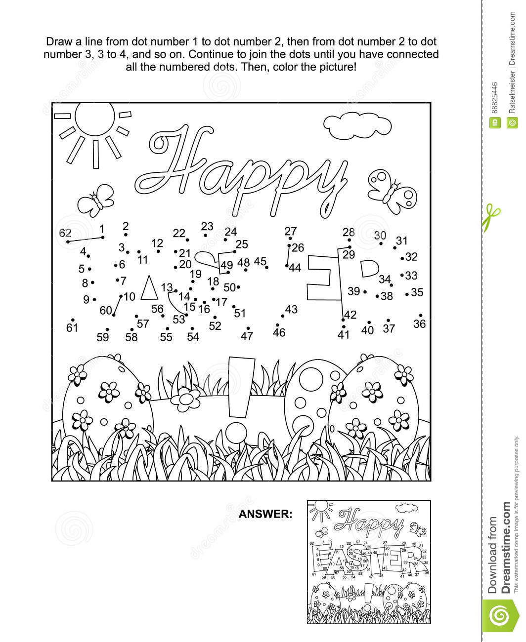 Dot To Dot And Coloring Page With Easter Greeting Stock