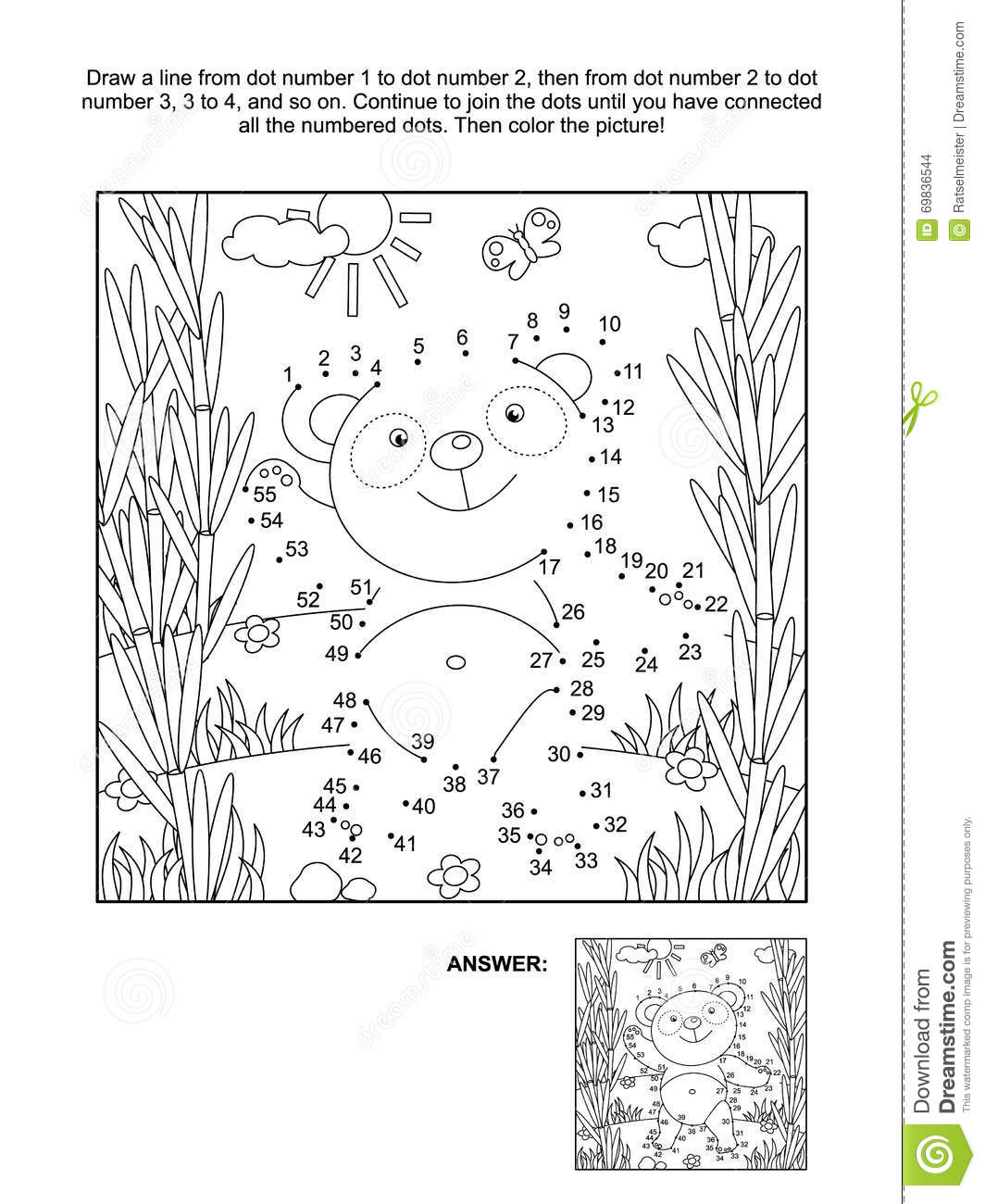 Dot To Dot And Coloring Page With Panda Bear Stock Vector