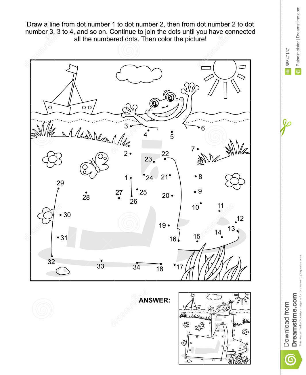 Dot To Dot And Coloring Page