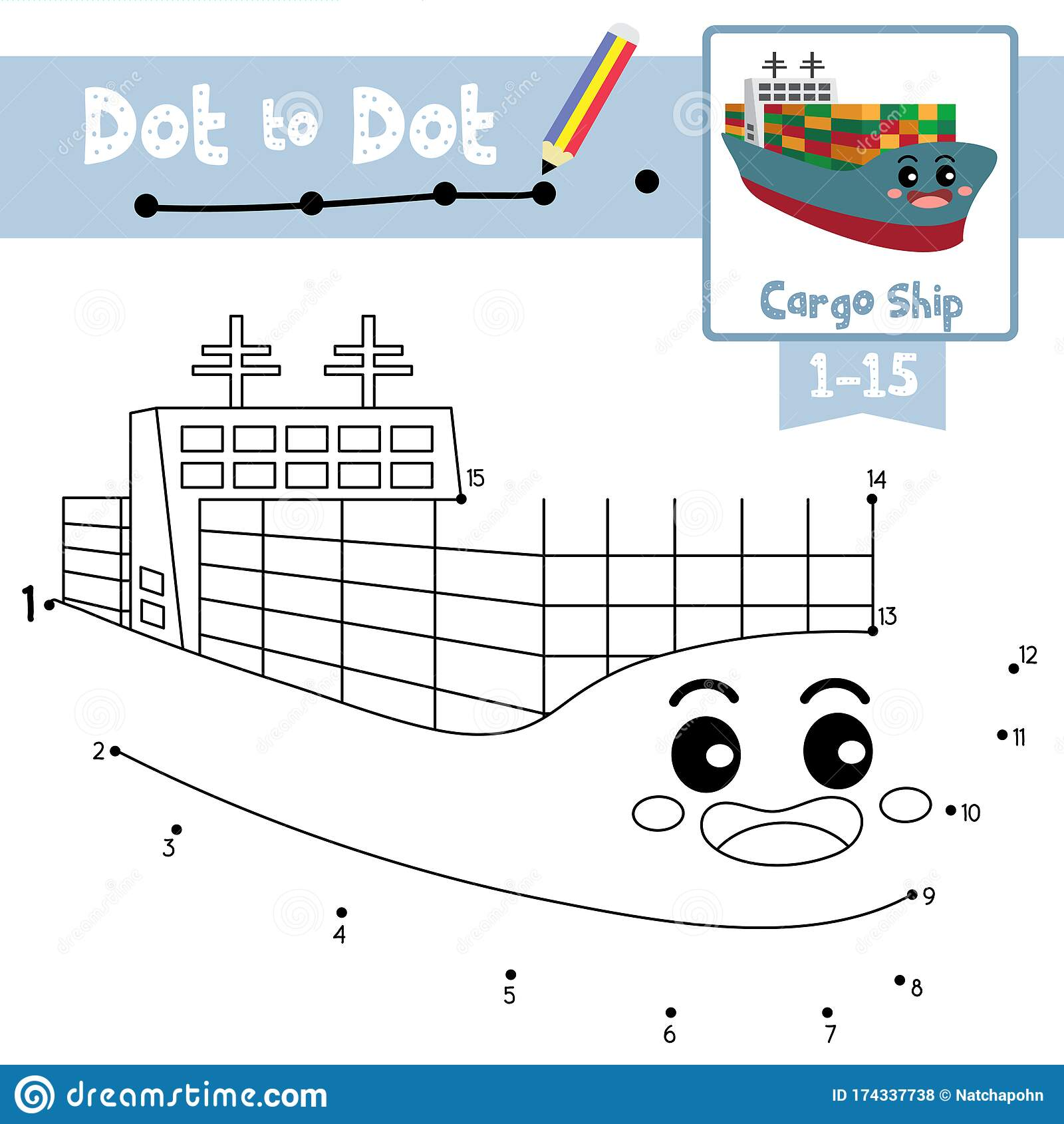 Dot To Dot Educational Game And Coloring Book Cargo Ship