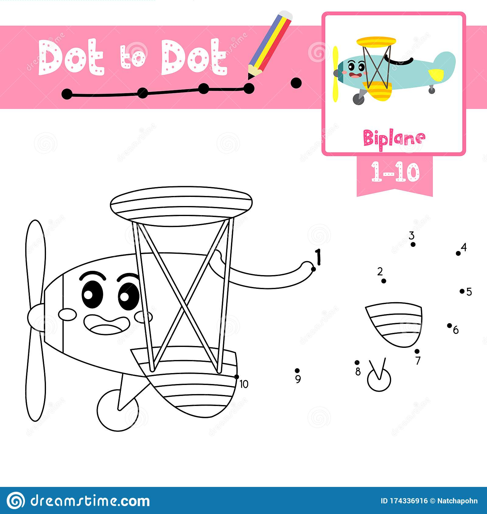 Dot To Dot Educational Game And Coloring Book Biplane
