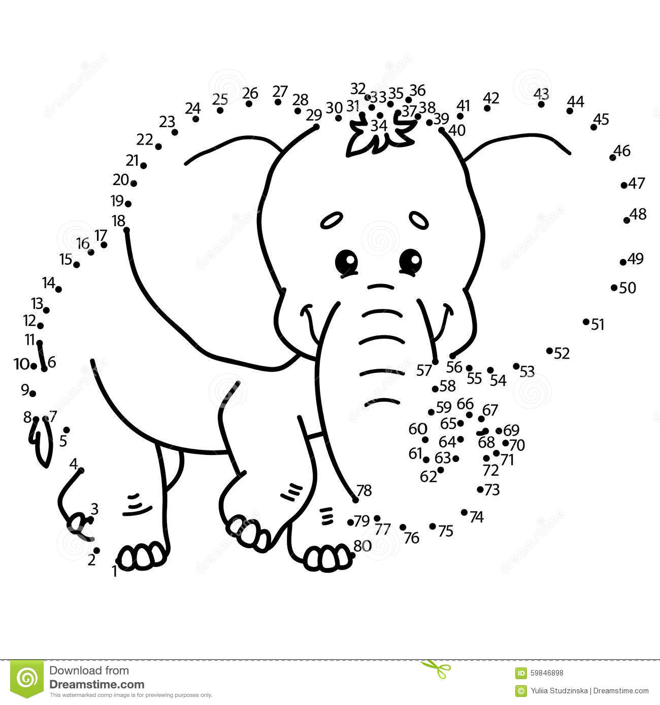 Dot To Dot Elephant Game Stock Vector Illustration Of