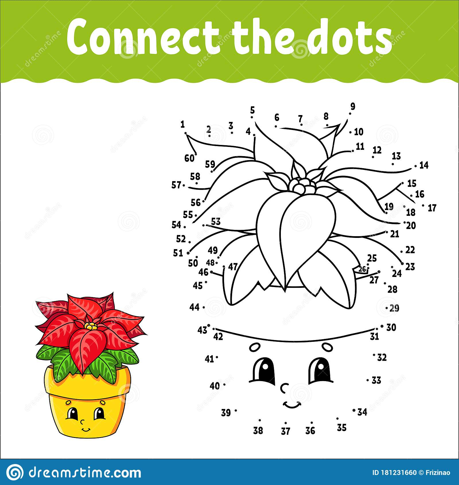 Dot To Dot Game Draw A Line Poinsettia Flower In A Pot