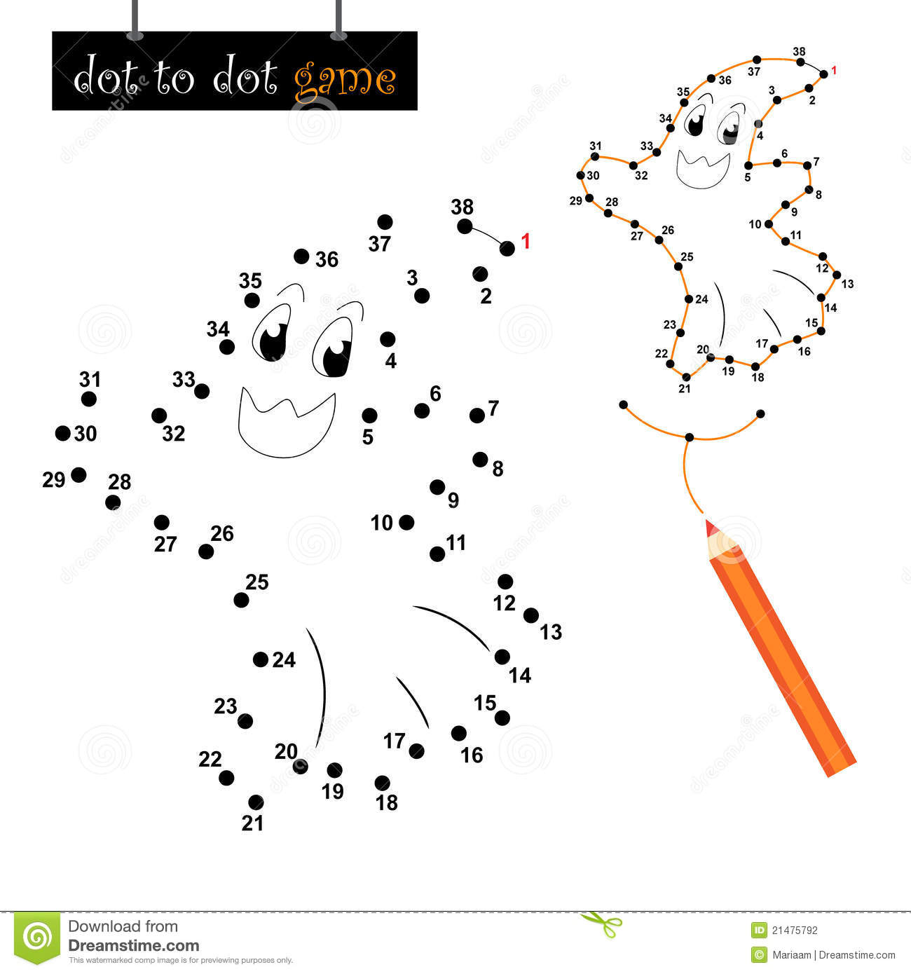 Dot To Dot Game Halloween Ghost Stock Vector