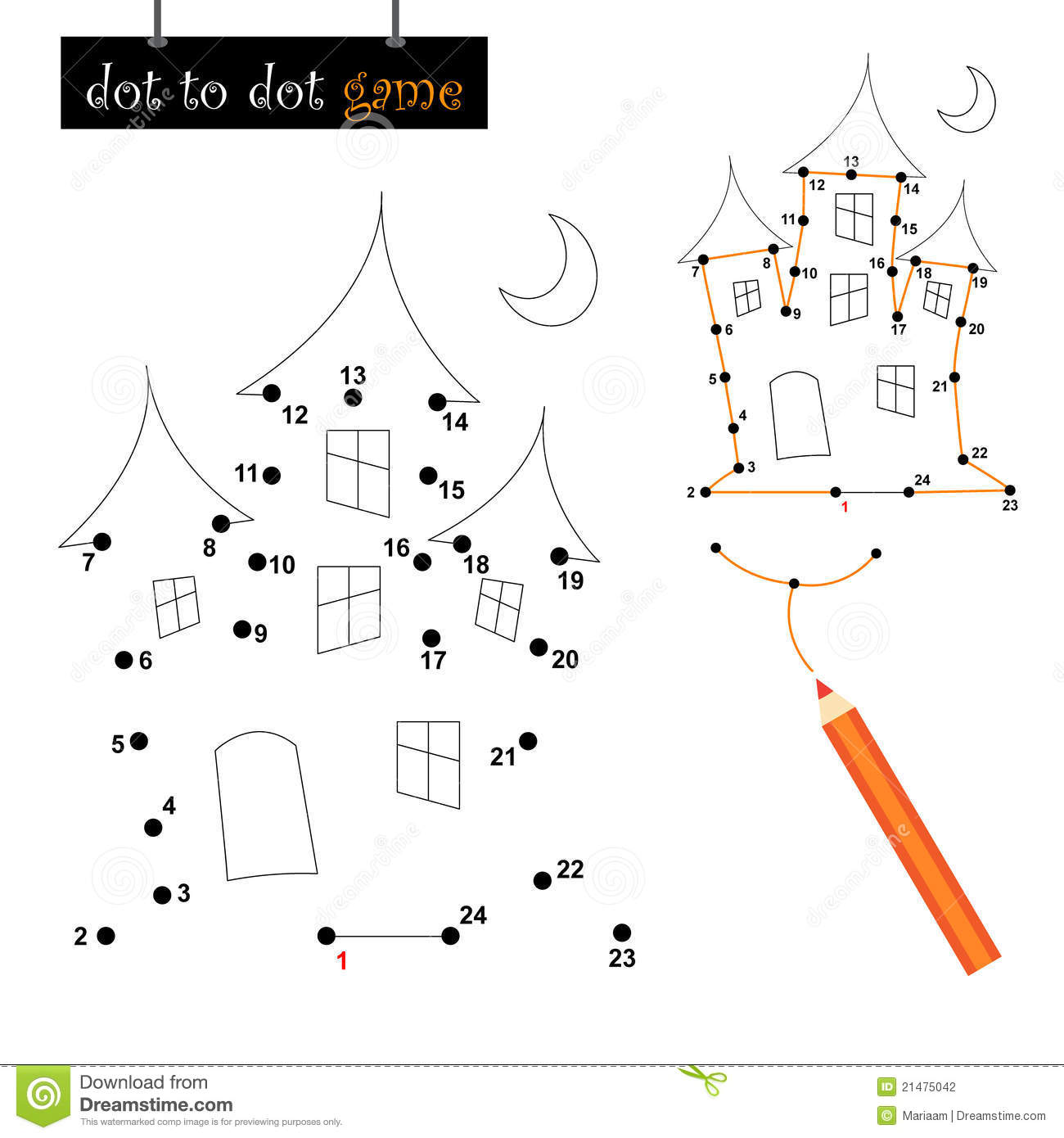 Dot To Dot Game Haunted House Stock Photography