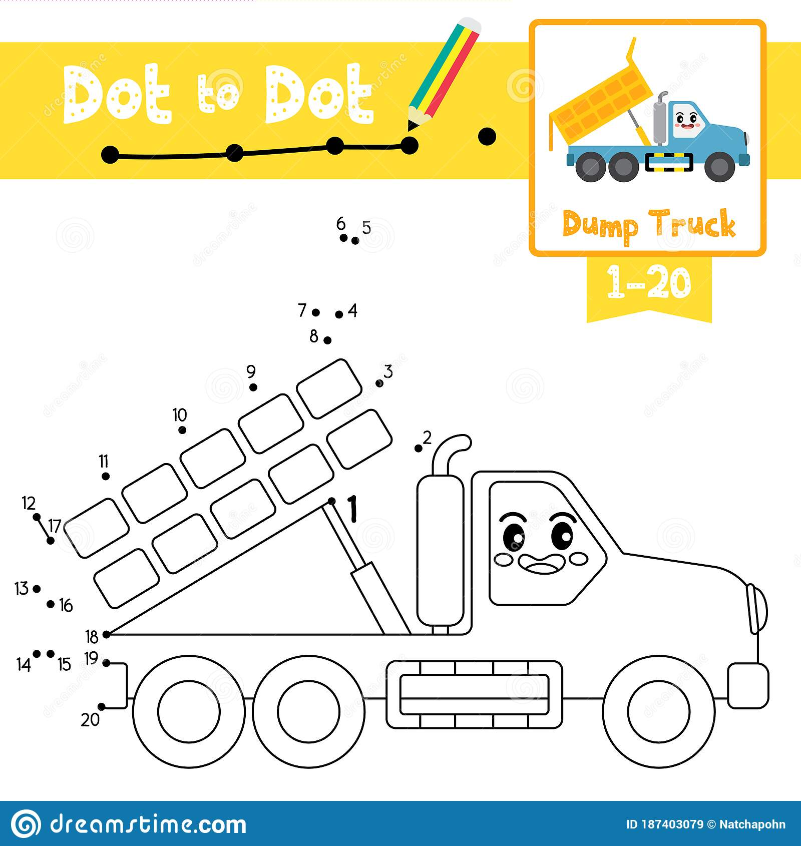 Dot To Dot Educational Game And Coloring Book Dump Truck